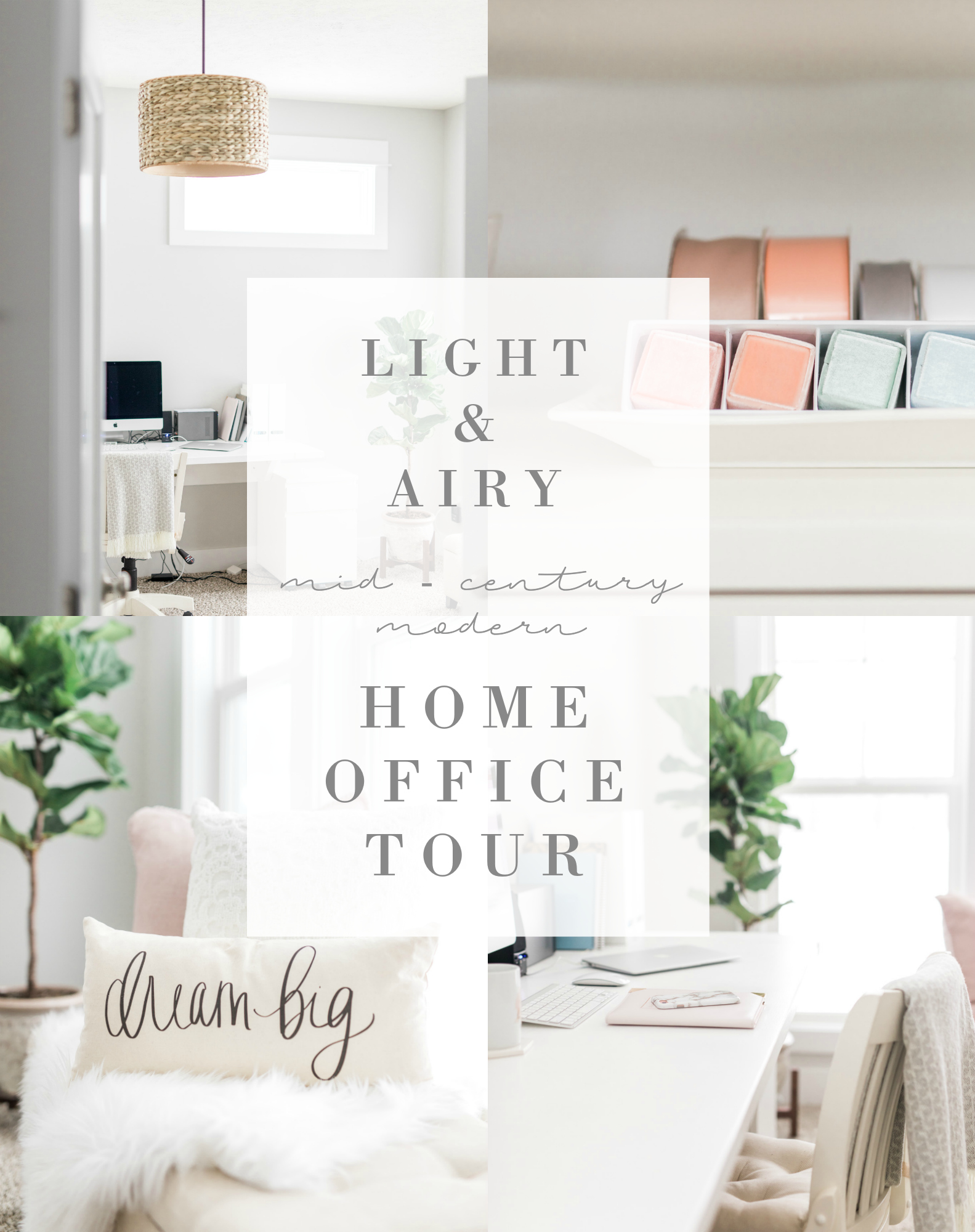 Light and Airy Mid Century Modern Home Office Tour   Girly white office   Pink and gold office   Office decorating   Laurenda Marie Photography