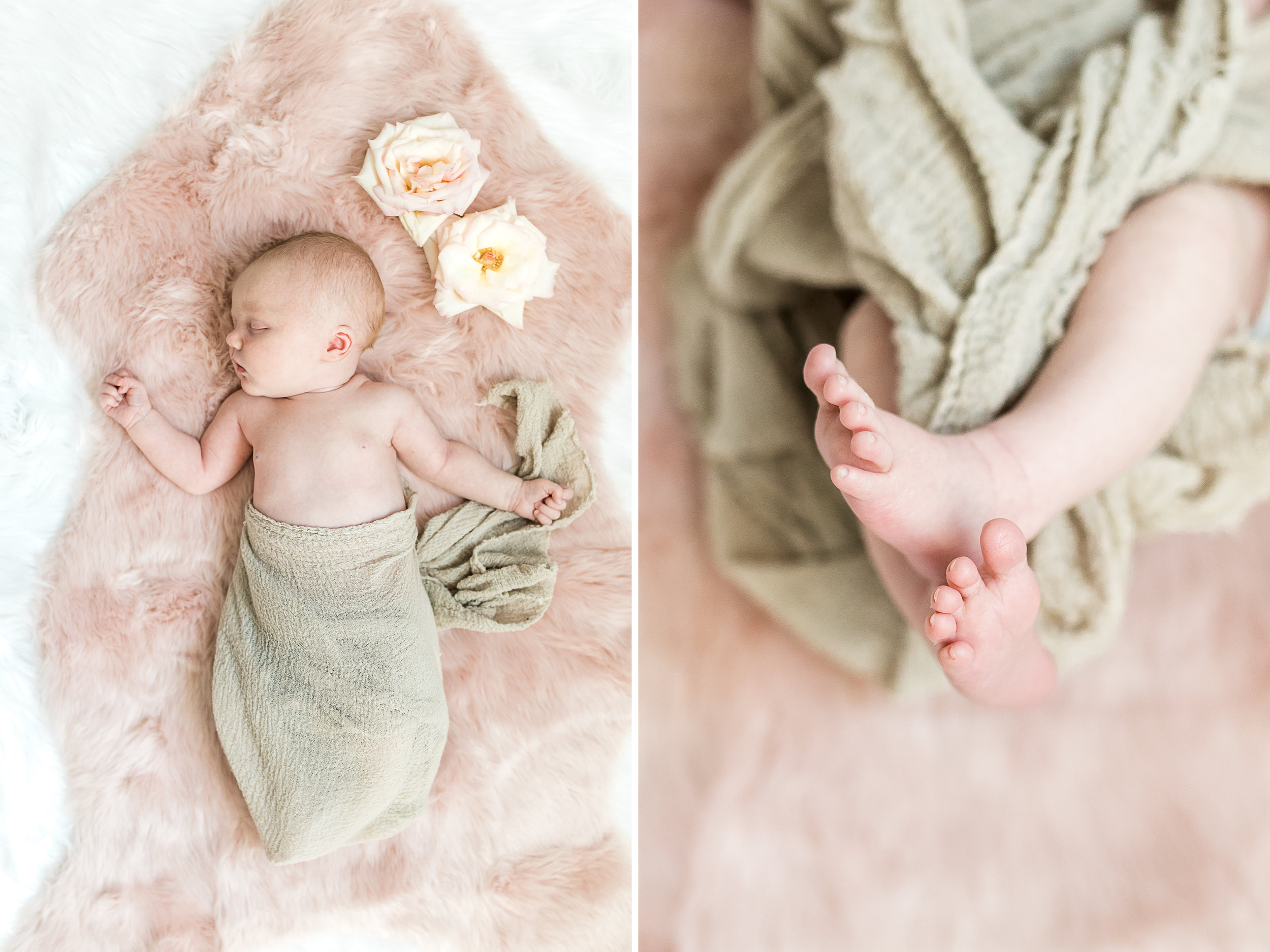 Cozy in-home newborn lifestyle session   Baby Girl   Light and Airy Nursery   Laurenda Marie Photography