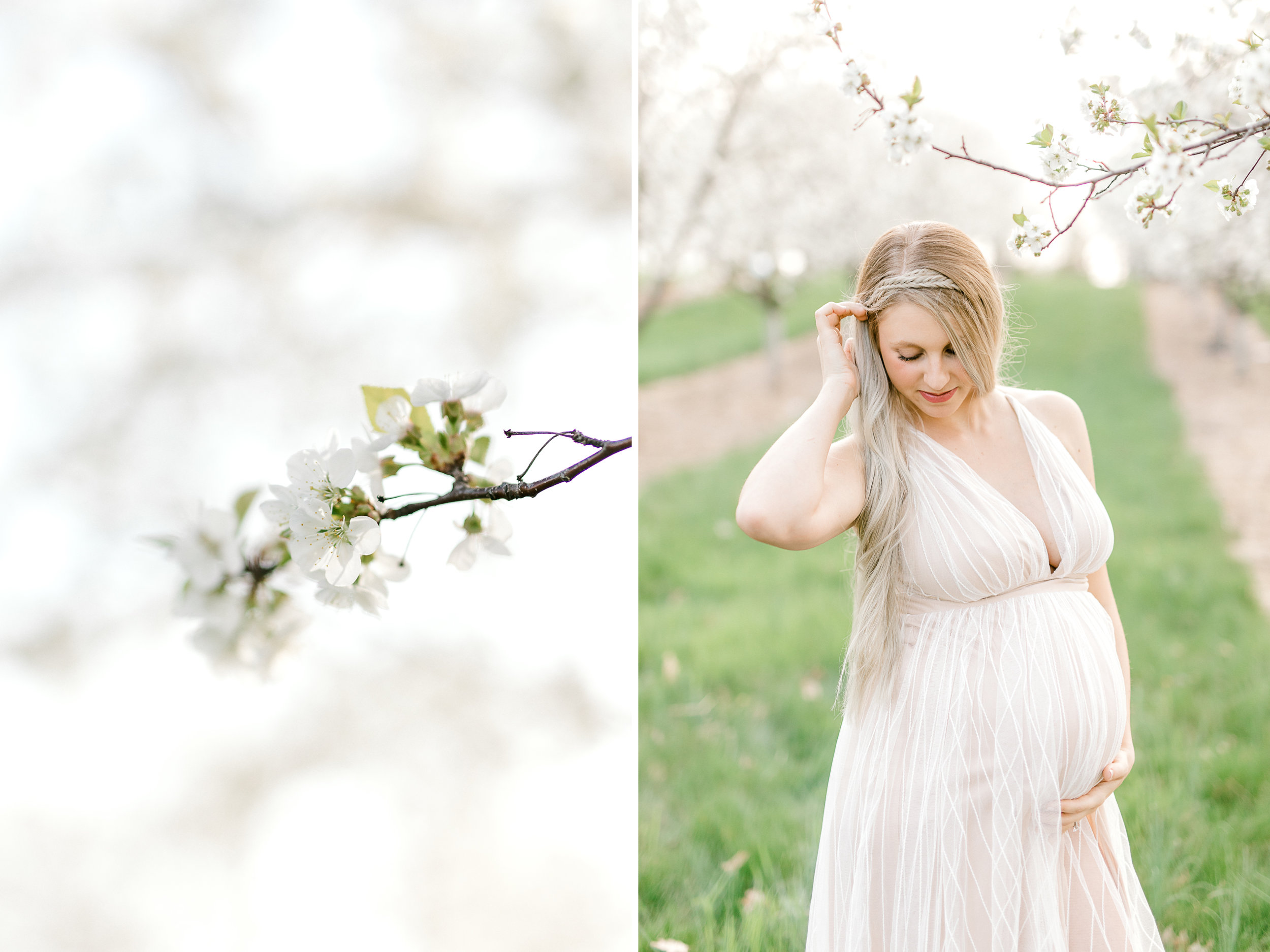 Spring Cherry Blossom Maternity Session in Mattawan Michigan | Light and Airy Maternity Photos | Couples Maternity | Laurenda Marie Photography