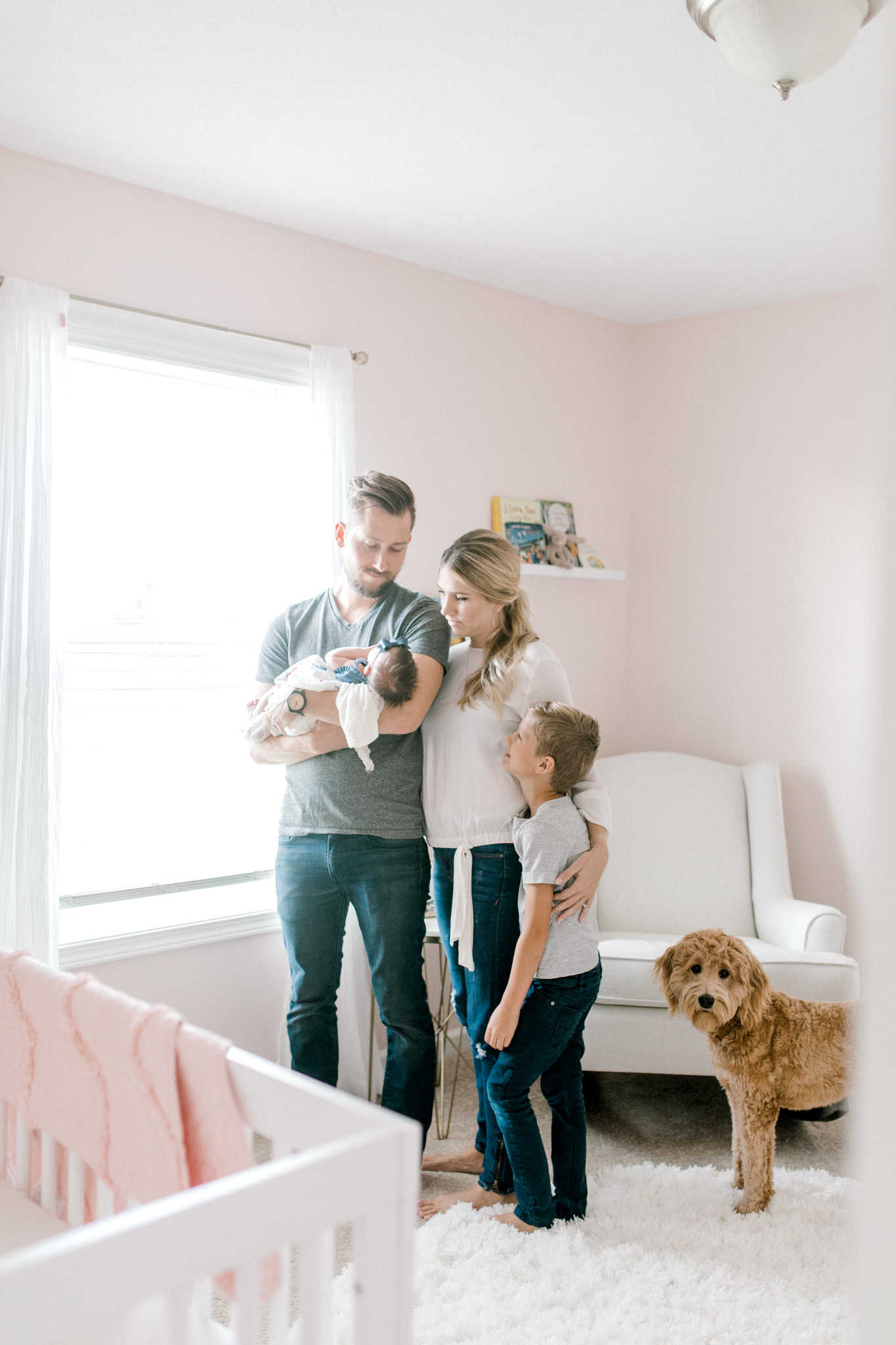 Blush Pink Baby Girl Nursery | Light & Airy Nursery | White, Pink, and Gold Nursery | In-Home Newborn Lifestyle Session | Laurenda Marie Photography