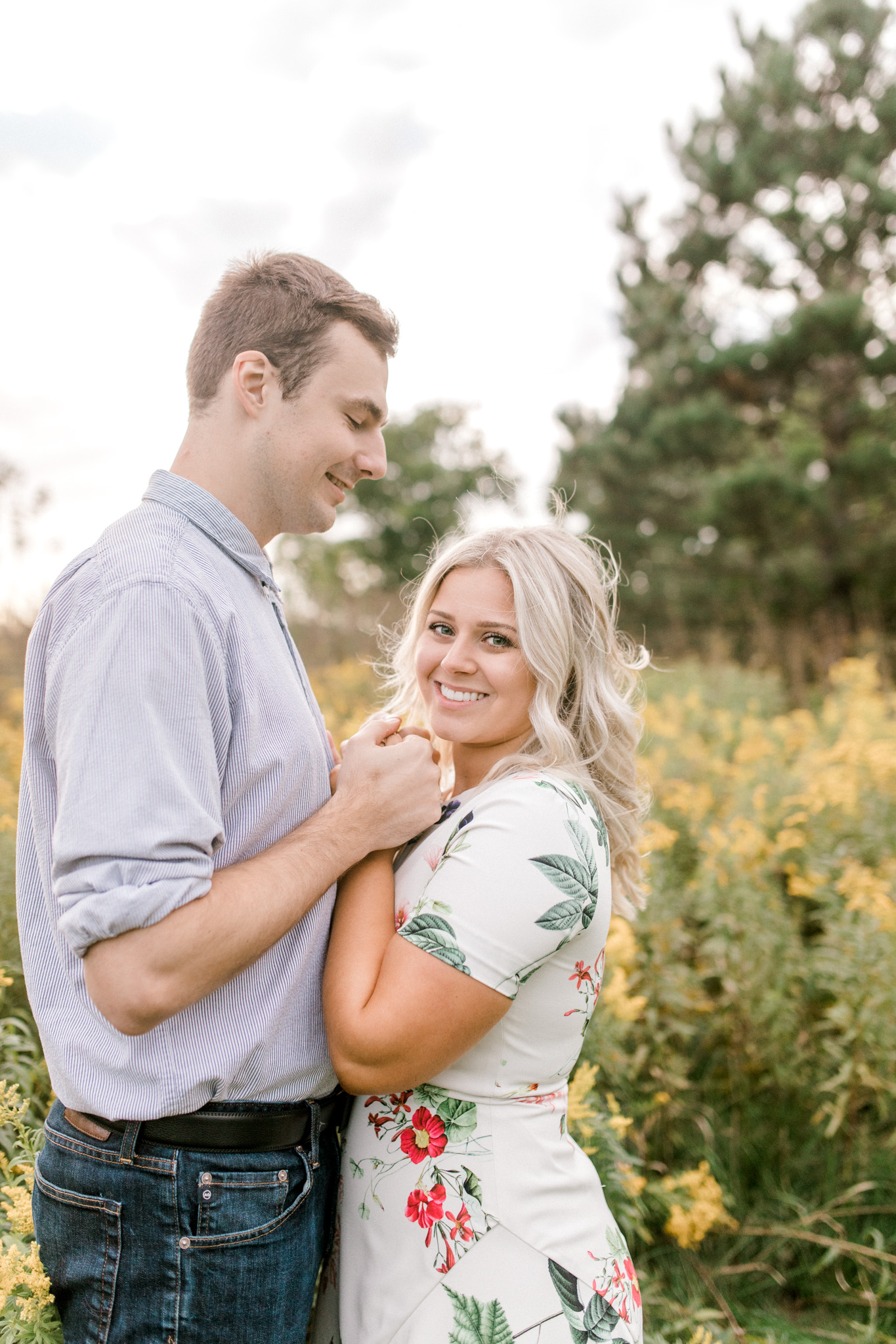 Summer engagement session   Wildflowers   Field engagement session   Floral Engagement Dress   West Michigan Wedding Photography