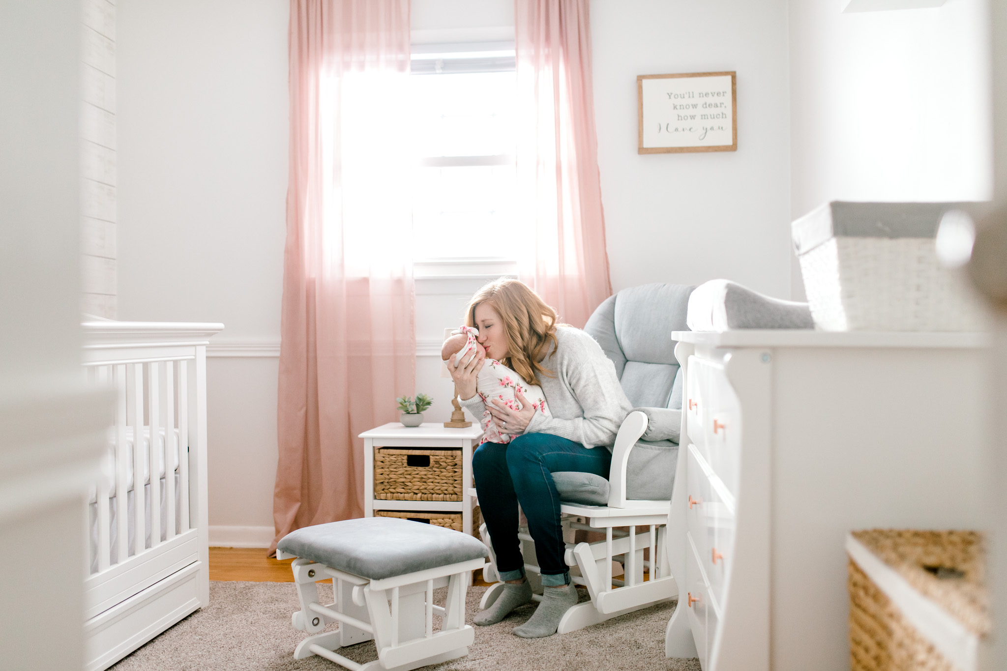 In-Home Lifestyle Session | Newborn Lifestyle Session | Baby Girl Nursery | Nursery Design | Floral Swaddle Wrap | Laurenda Marie Photography