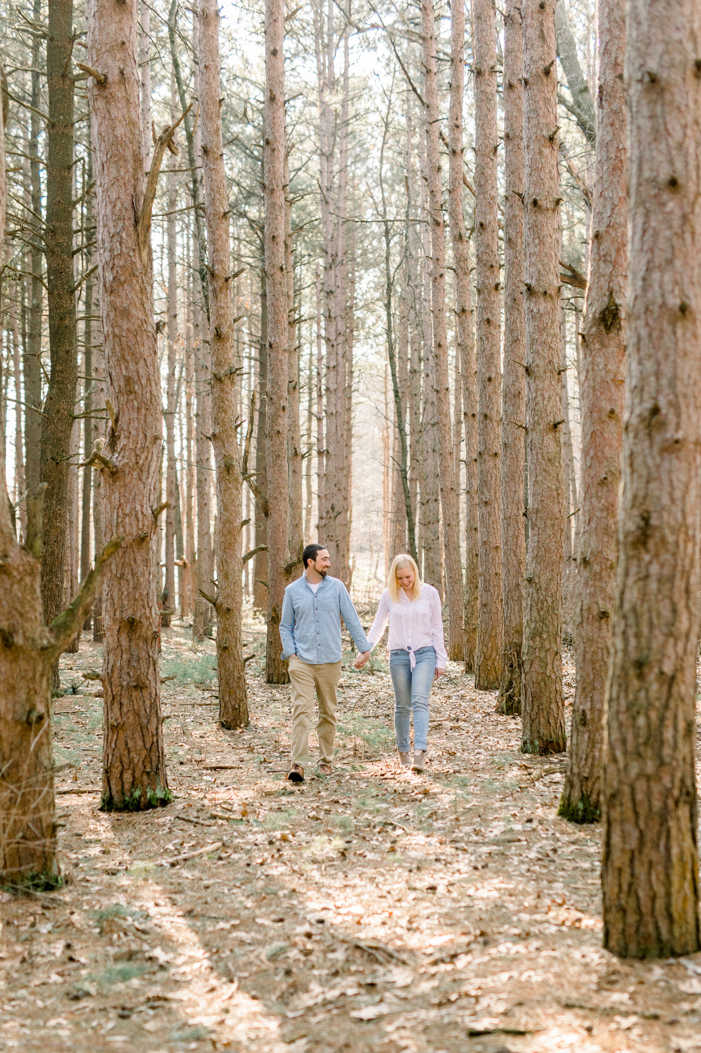 Light Filled Woodland Engagement Session | Light and Airy Photography | Film Inspired |  West Michigan Wedding Photographer