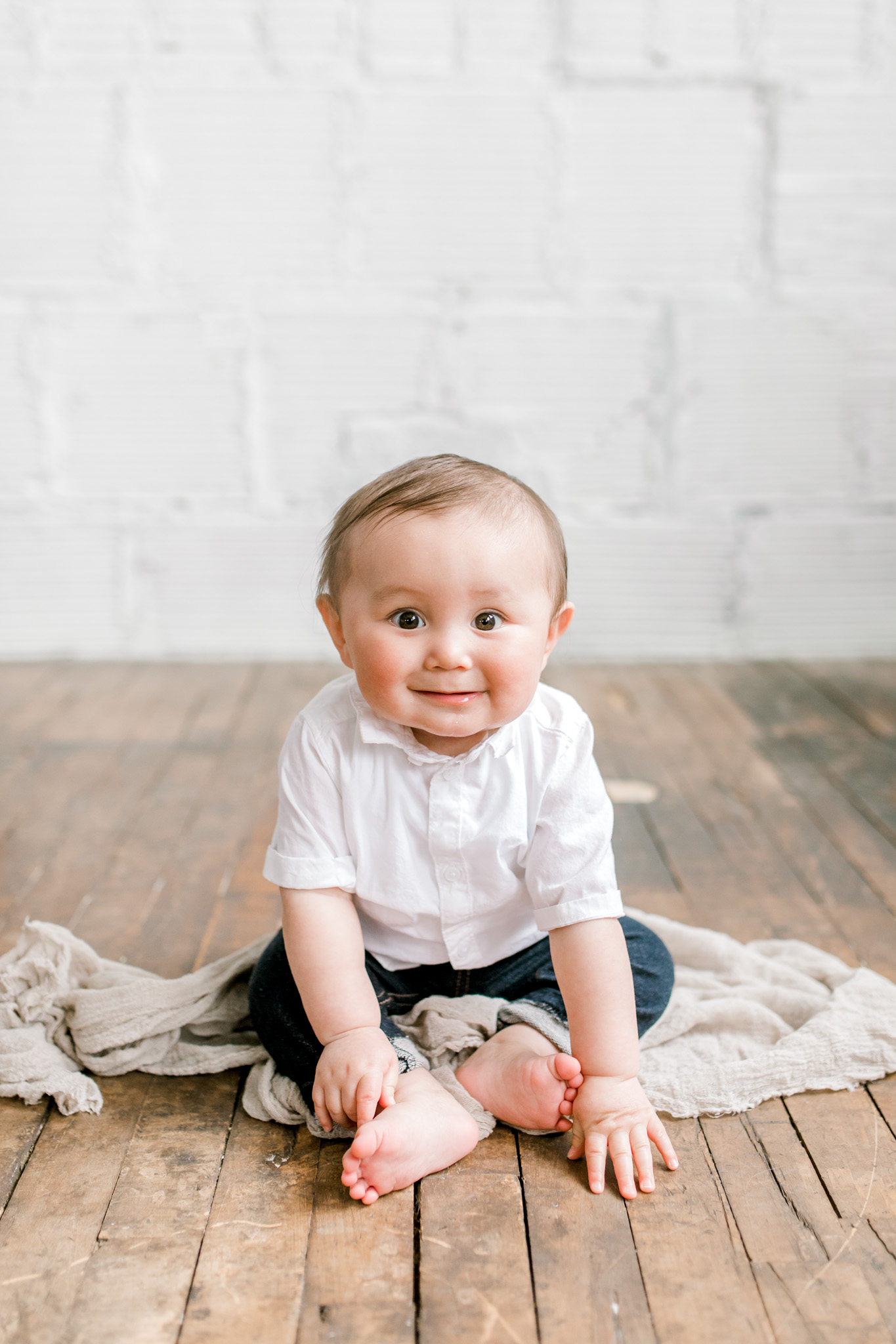 Natural Light Studio Session with 7 Month old Baby Boy | Grand Rapids, Michigan | Laurenda Marie Photography