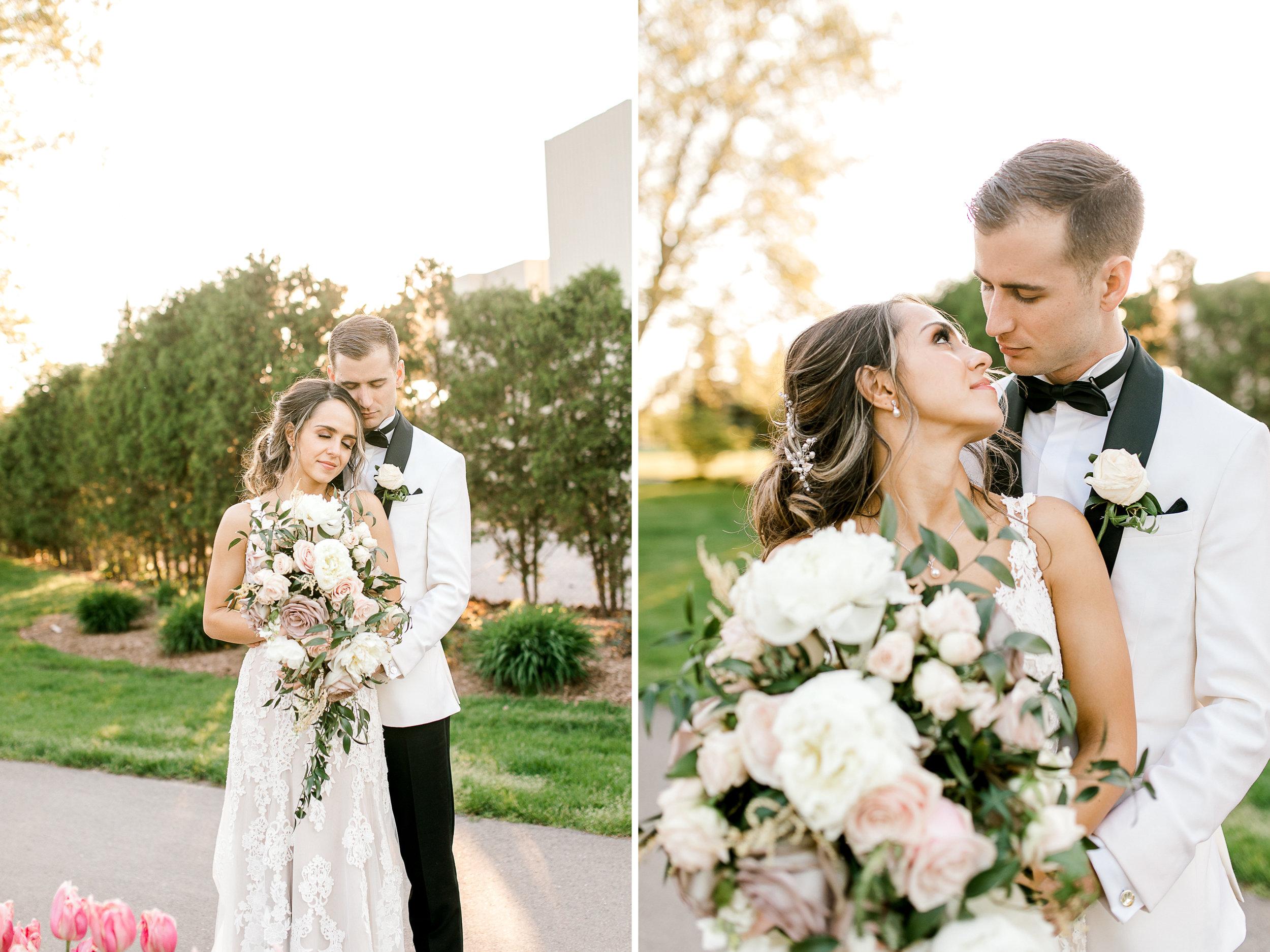 Stunning elegant wedding | Neutral Wedding | Golden Hour Wedding Portraits | West Michigan Wedding Photographer