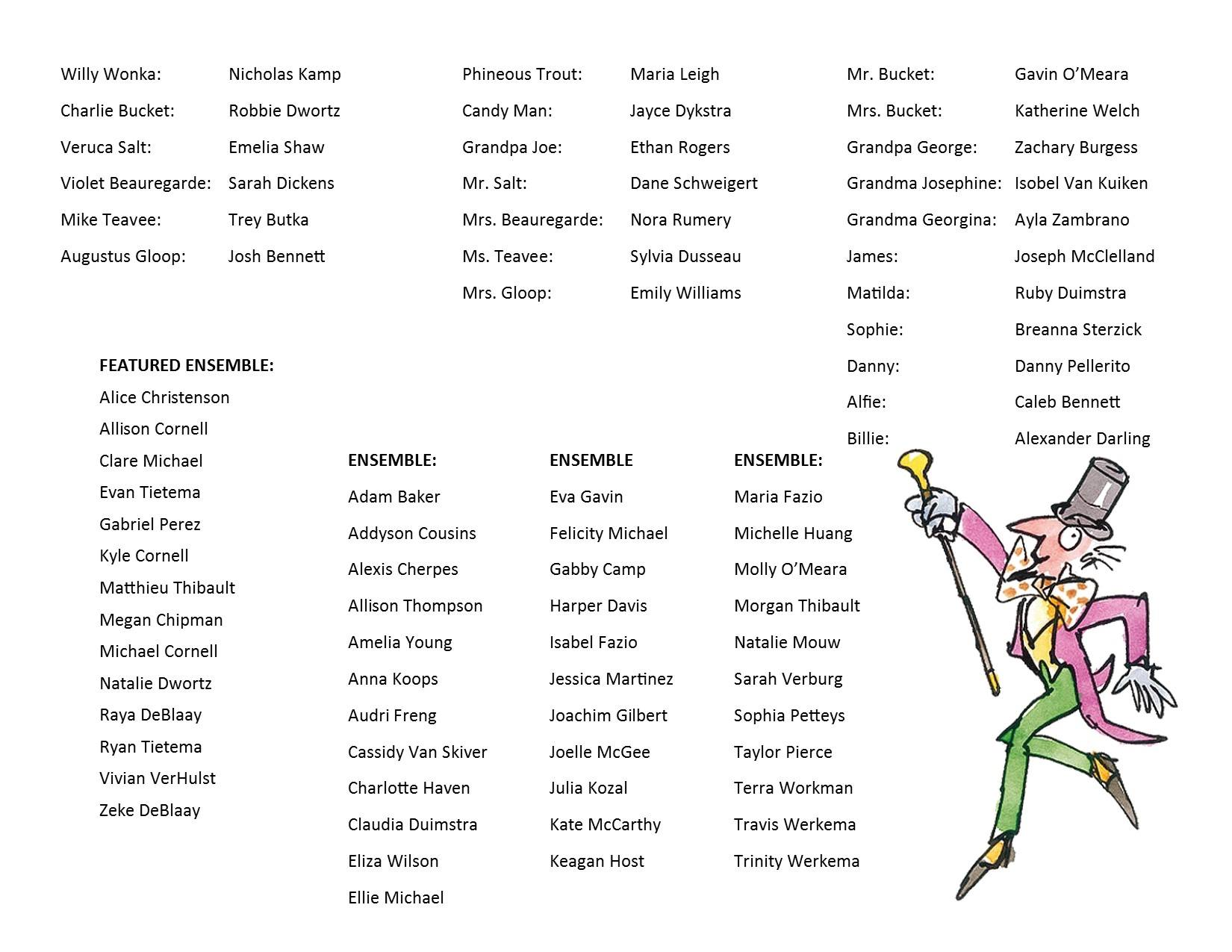 Click image to view the Willy Wonka cast list.  Congratulations to everyone!