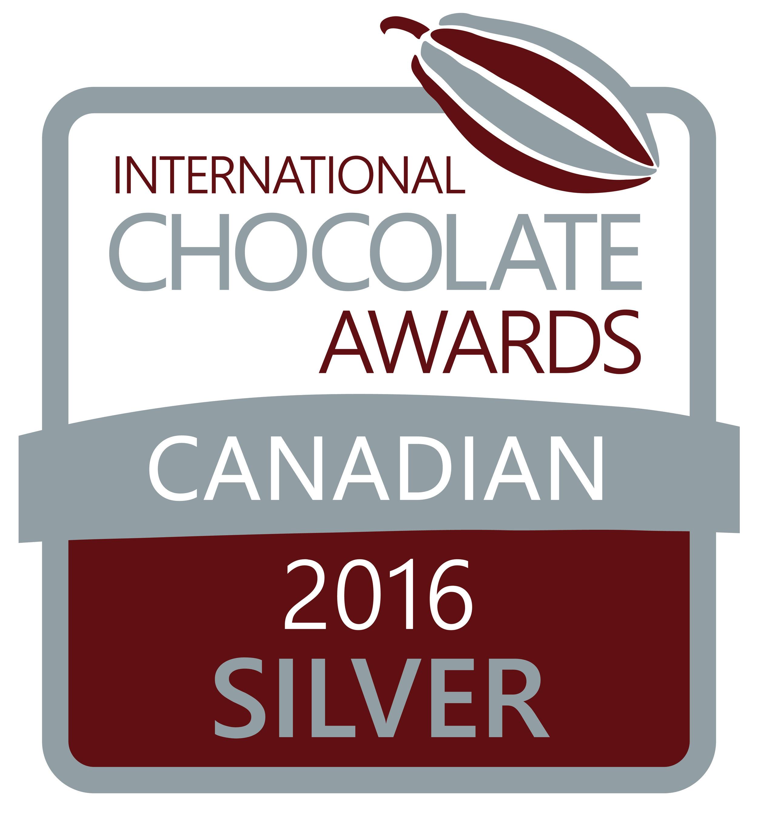 2016 Canadian Silver Winner International Chocolate Awards
