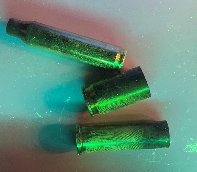Detection of fingerprints on brass casings.