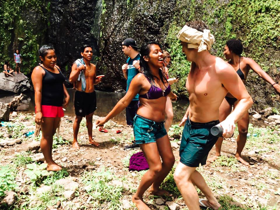 Locals at San Ramon Waterfall, Ometepe Island, Nicaragua