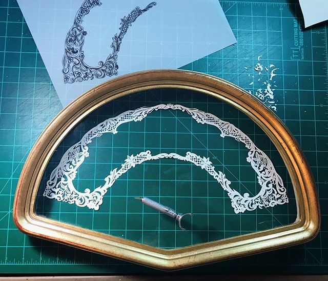 The lace is all cut! I found this cool vintage fan frame in an antique store over a year ago, it's taken me a while to decide what to put in it. There's still a lot to do!  #wip #fanframe #antiqueframe #vintageframes #lace #paper #paperart #papercraft #paperfauna