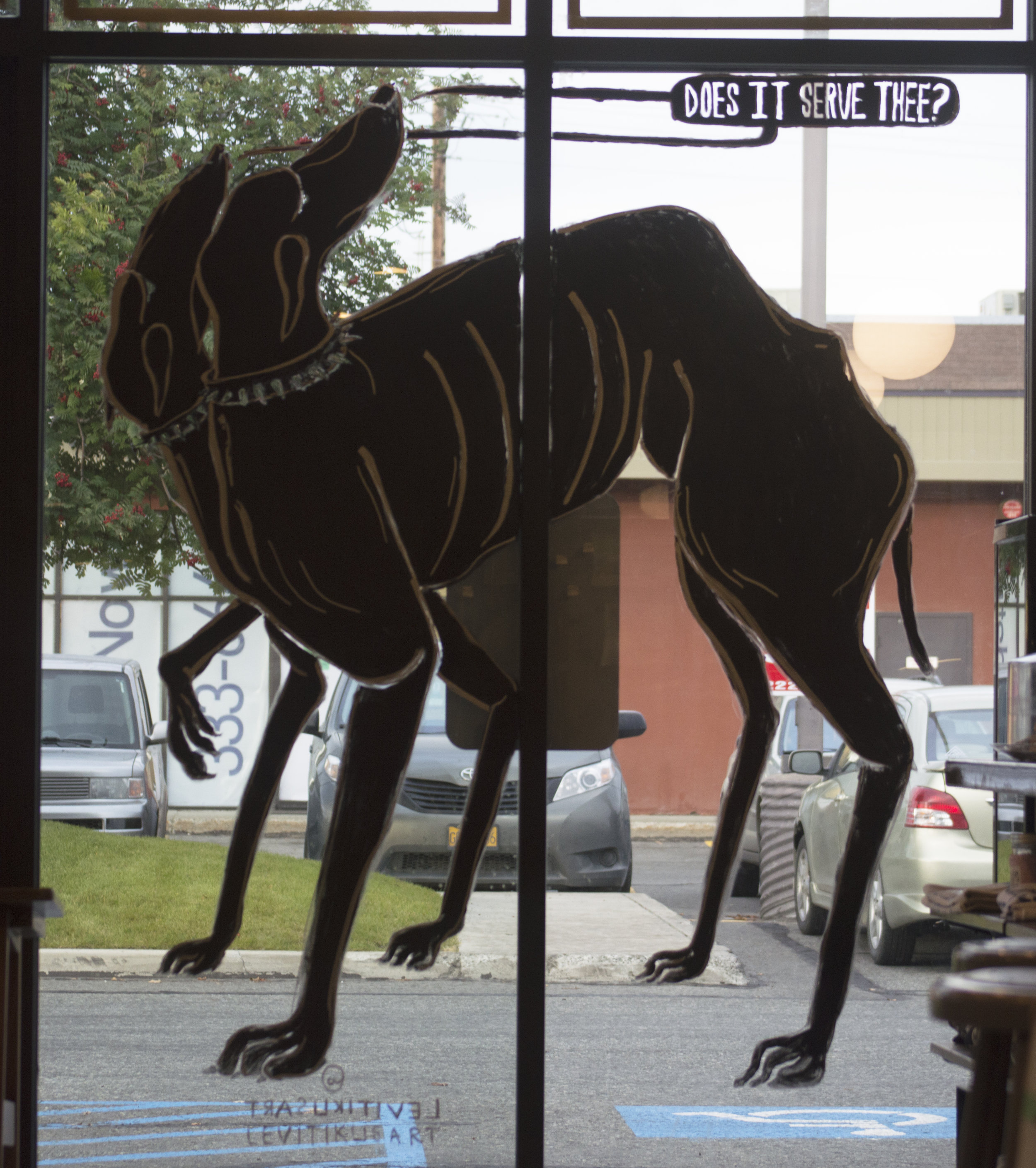 Hell Hound window mural at Leroy's Coffee view 2