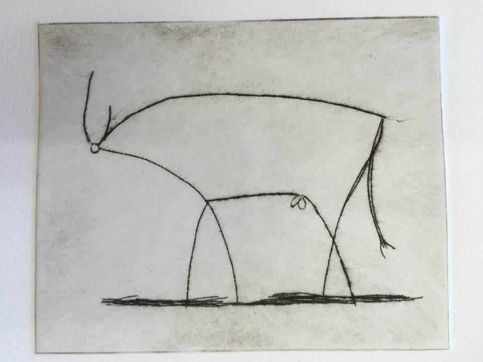 Picasso inspired Bull - drypoint print