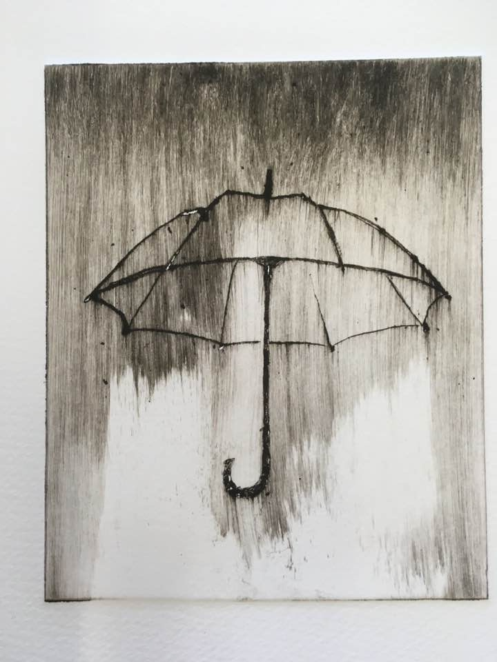 Drypoint with brushed ink