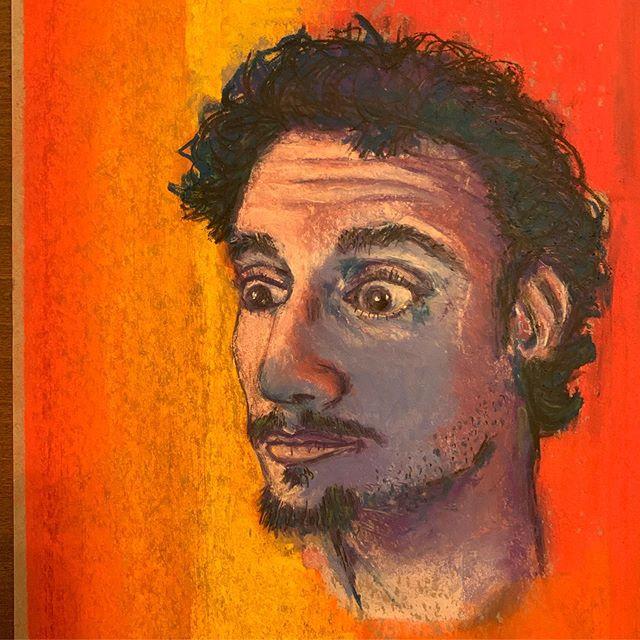 Pastel on blue paper. Self portrait.  #illustration #art #pastel #color #charcoal #pencil #portrait #blue #pink #artist #chicago #hellas #draw #drawing #sketch #prismacolor