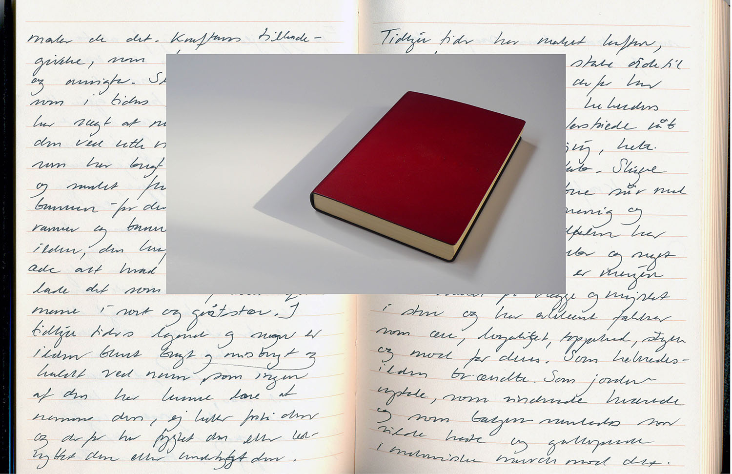 2013, Red - Ode to Battle   Helene Lundbye Petersen,  Red - Ode to Battle,  2013, Calligraphic Manuscript, 294 pages handwritten in Copenhagen and Berlin, lined white paper, red leather cover. 17 x 12.5 x 1.8 cm.