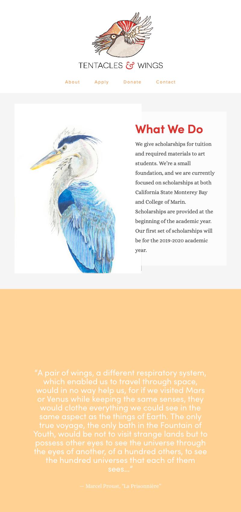 Screenshots from the website