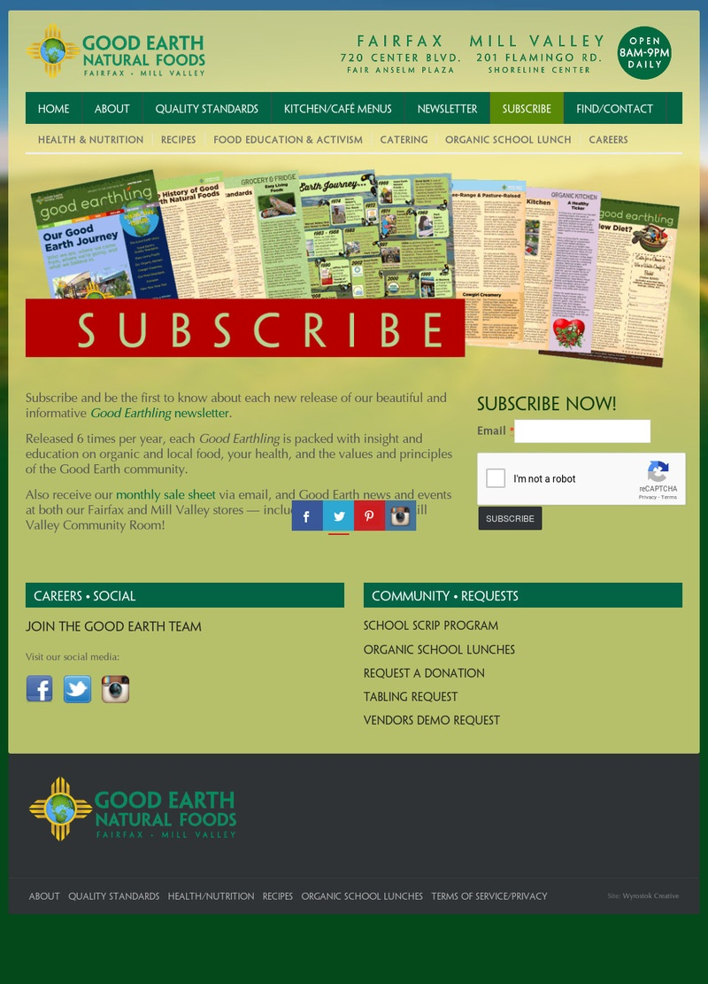 The former Newsletter Subscription page. Yes, it had it's own page!