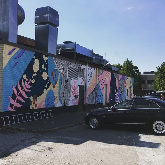 Essi Ruuskanen, Elina Nikkinen ja Tuuli Huovila maalas Salen päädyn ☀️#ruralurbanart #grex #streetart #mural #katutaide #laitila #kesä #wallpainting #kombo