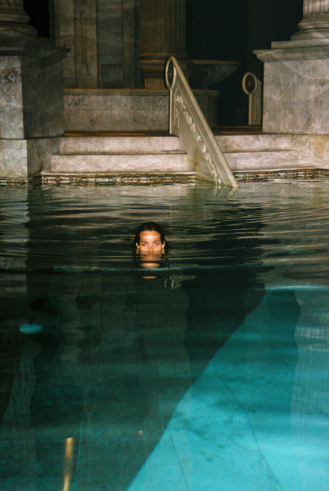 Self at an empty Caesars Palace pool