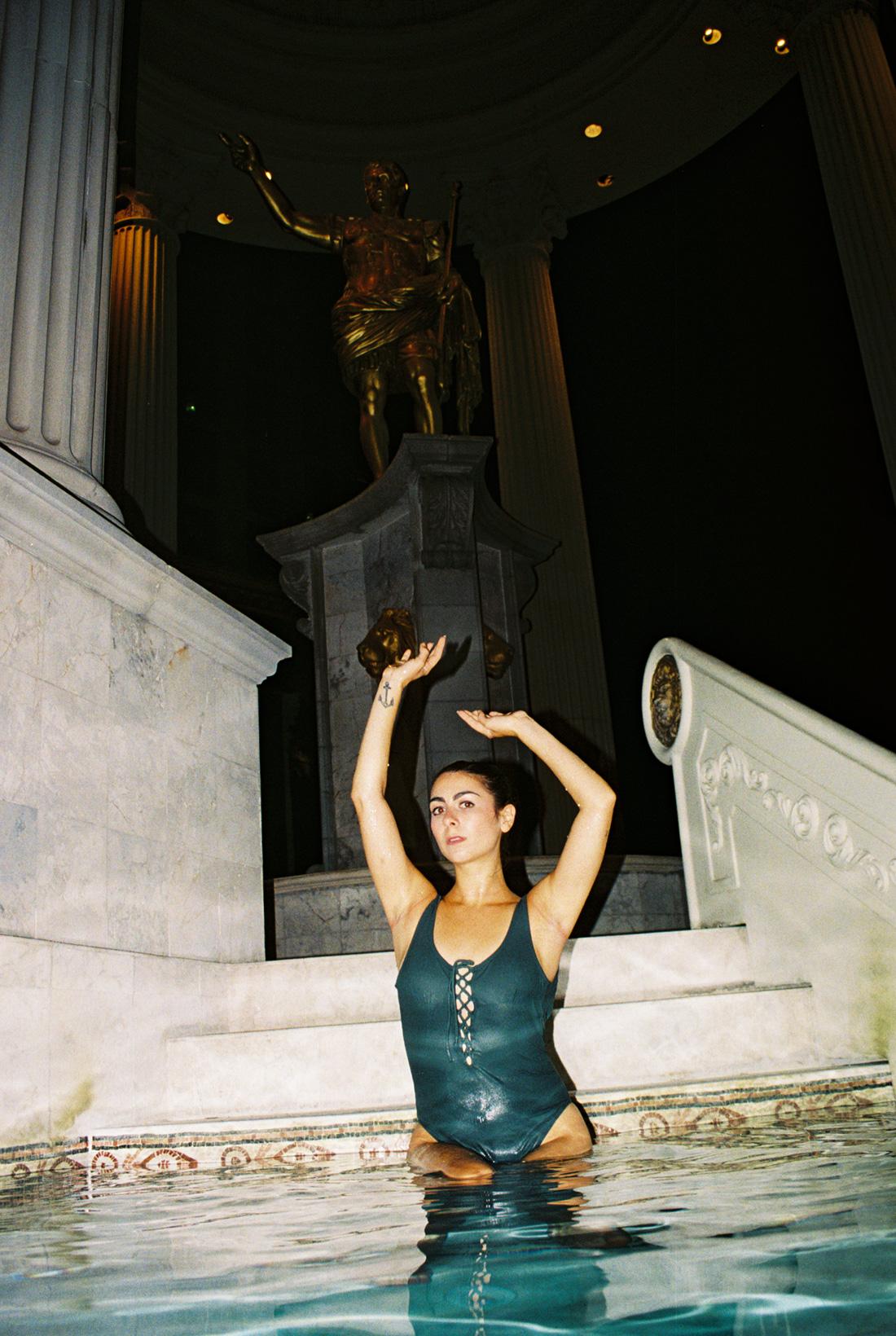 Cara at an empty Caesars Palace pool