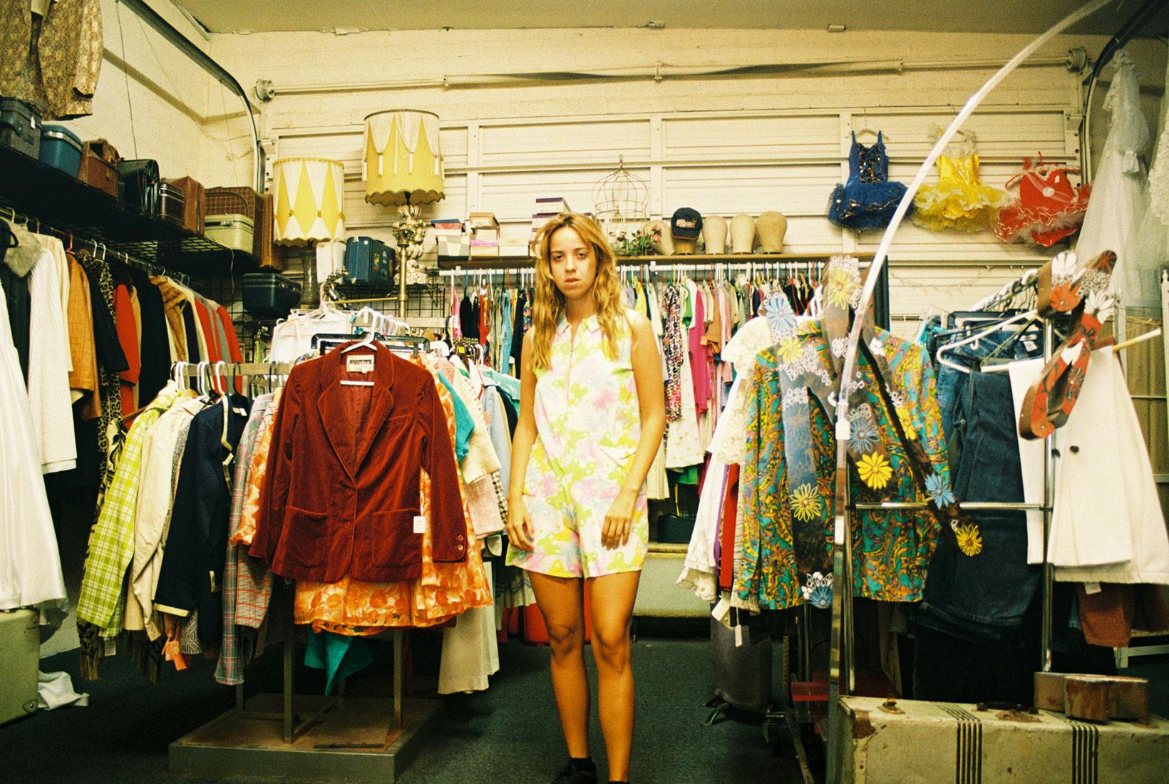 Self in butterfly onesie, vintage shopping in downtown Las Vegas