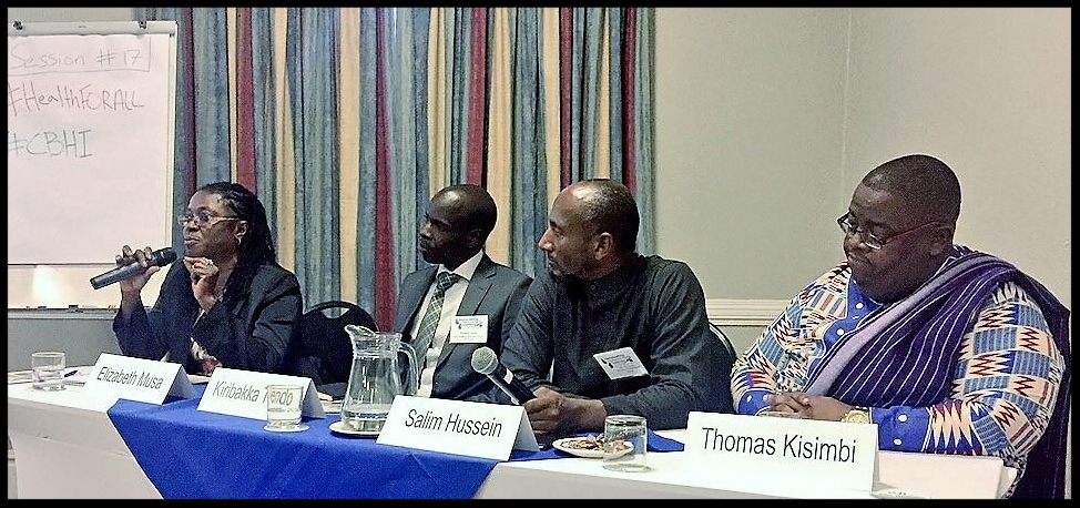 AMP Health colleagues Elizabeth Musa (Sierra Leone), Kiribakka Tendo (Sierra Leone), Salim Hussein (Kenya), and Thomas Kisimbi (Kenya) present at ICHC