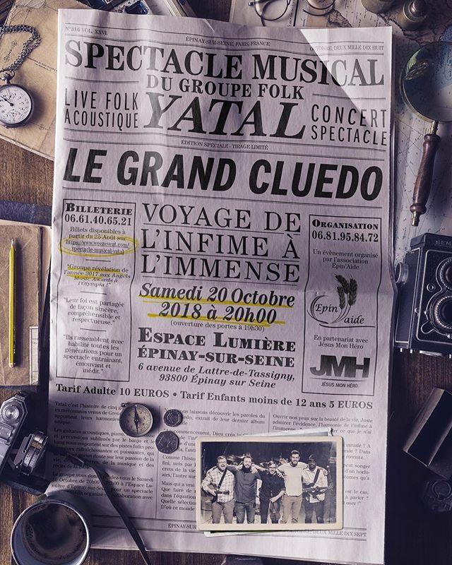 L'affiche du concert le 2 oct. à Epinay-sur-Seine. Infos et billets sur www.yatal.fr
