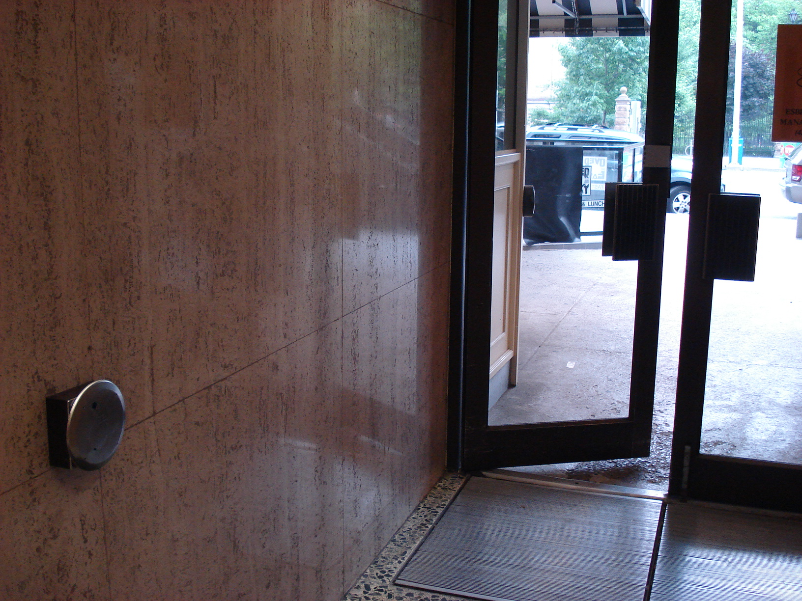Picture of accessible entrance. Automatic door opener.