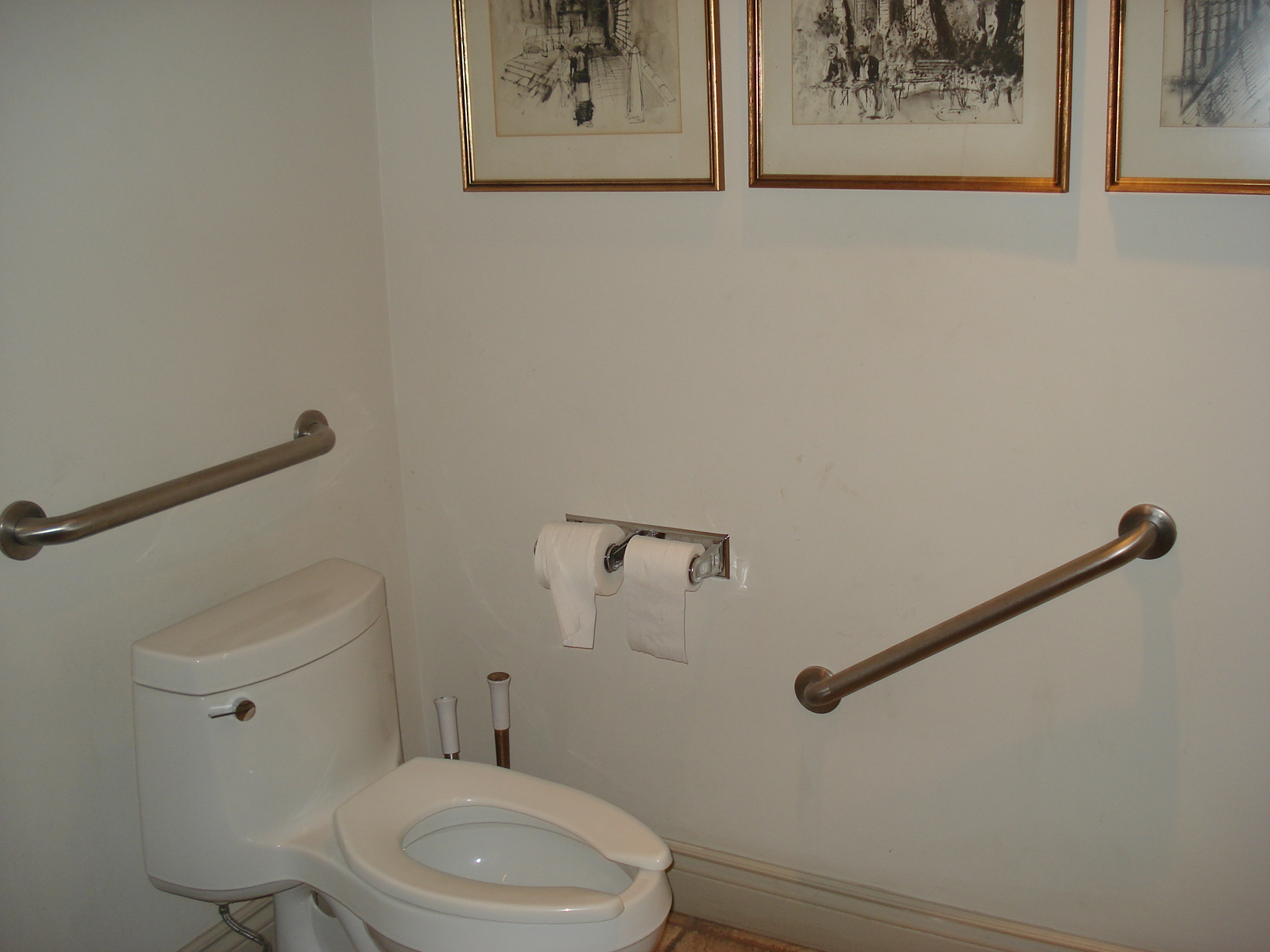 Picture of accessible washroom. Grab bars surrounding toilet.
