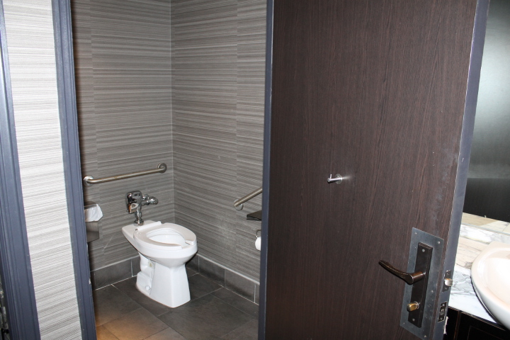 Picture of accessible washroom with grab bars.