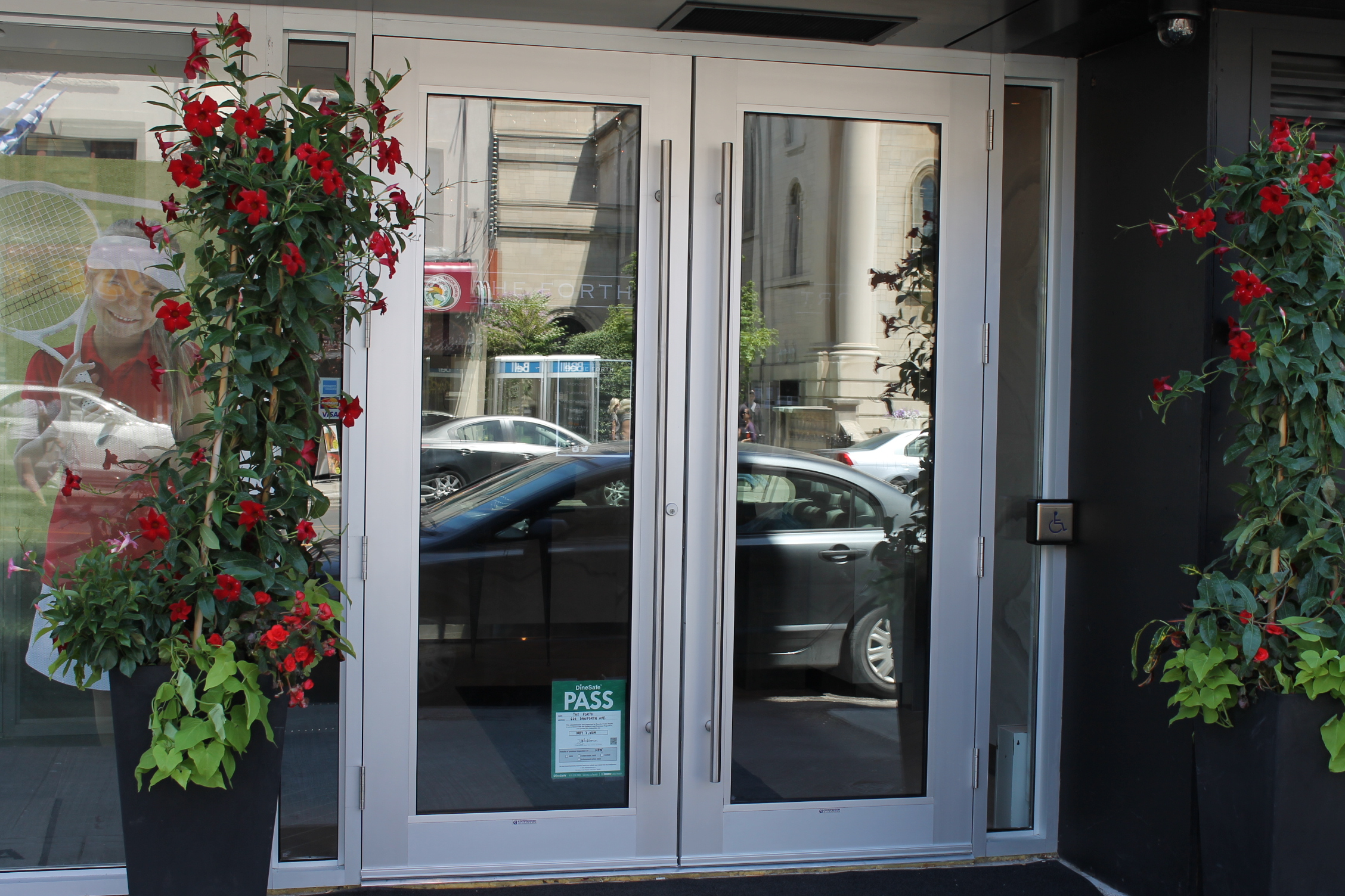 Image of the accessible double doors to enter.