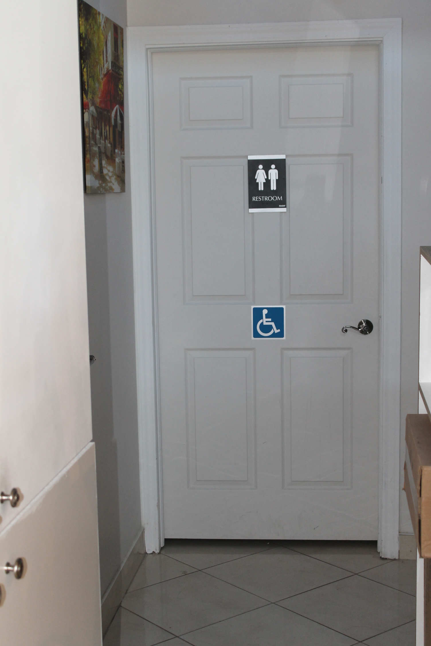 Picture of hallway to accessible washroom.