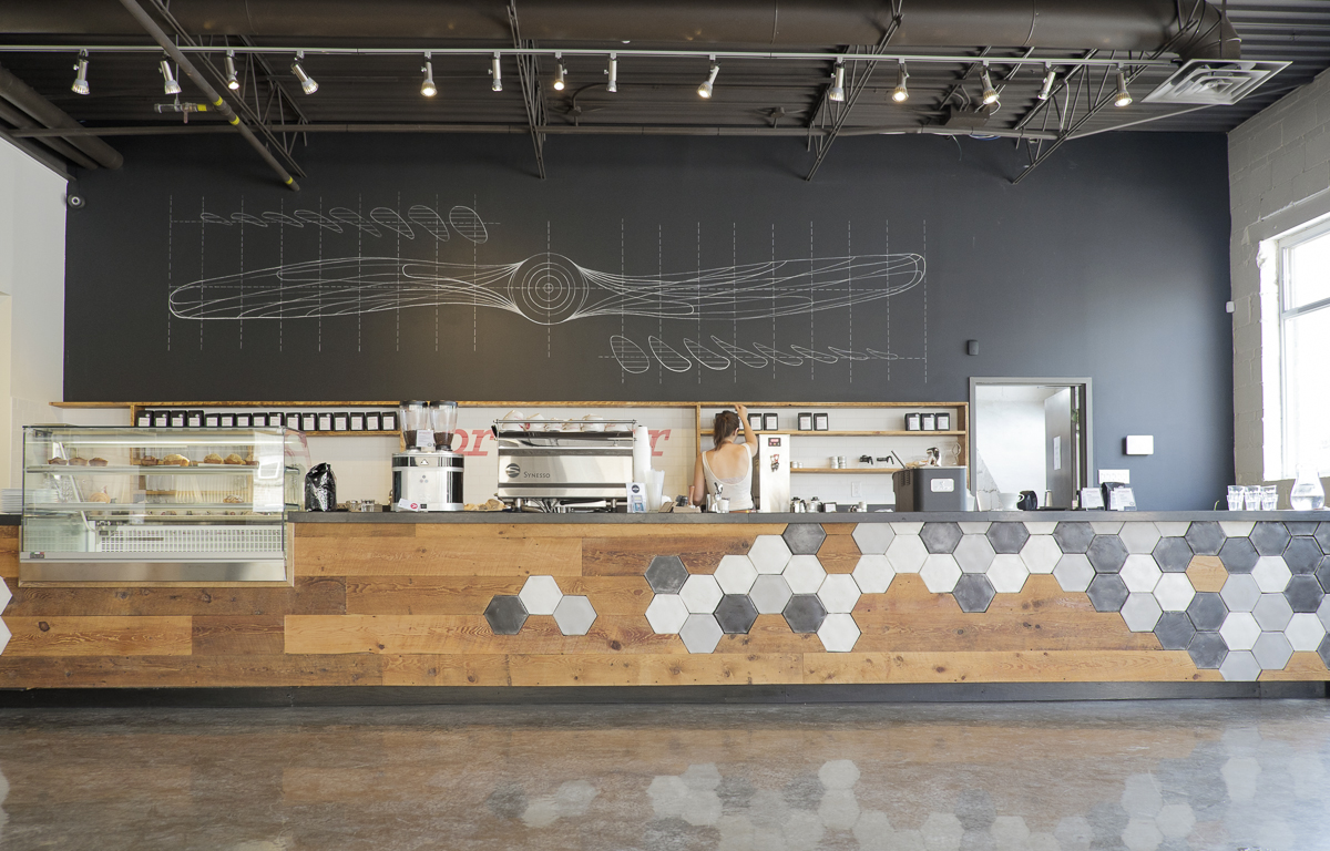 Picture of long coffee counter at Propeller Coffee Co.