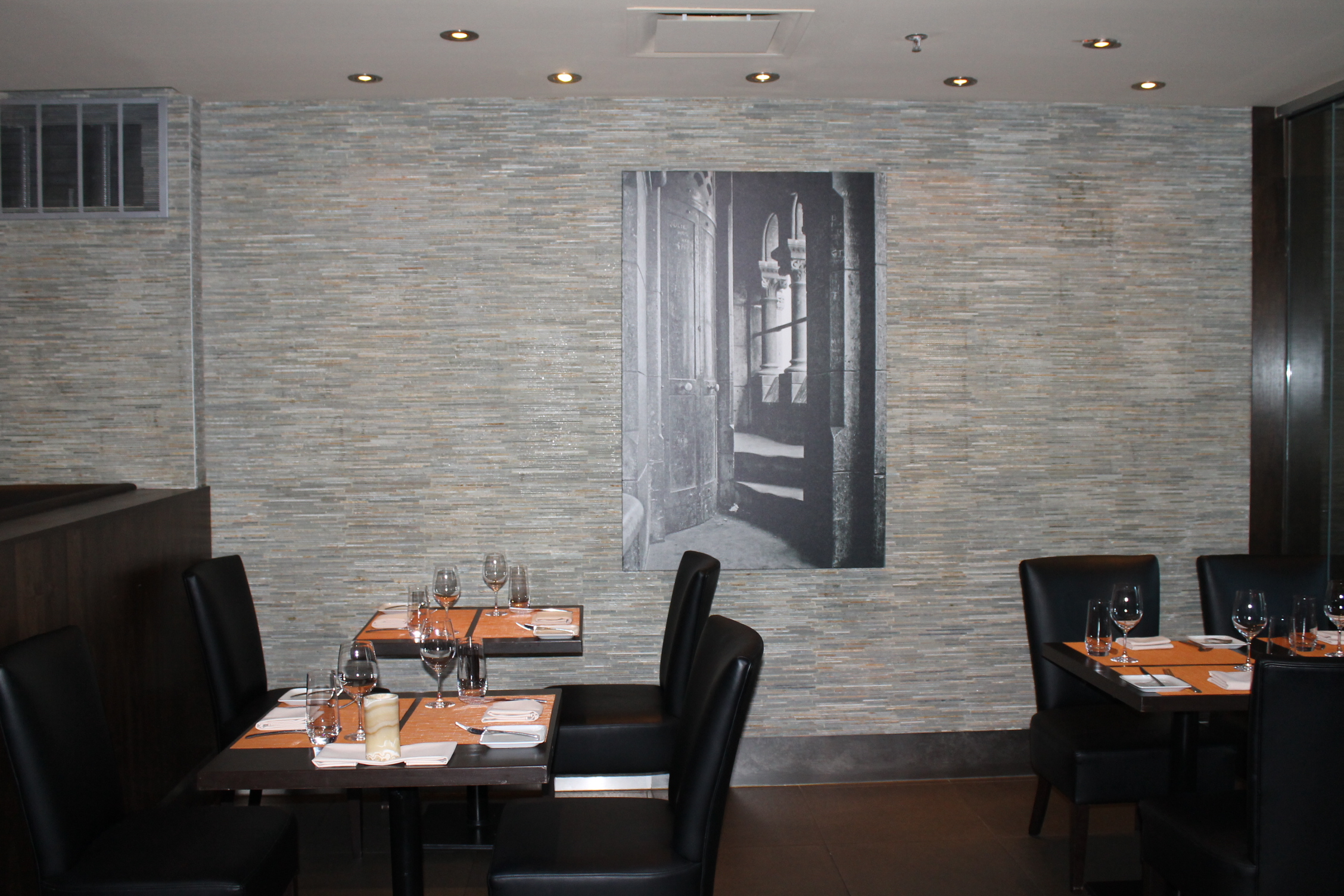 Picture of standard height tables within restaurant.
