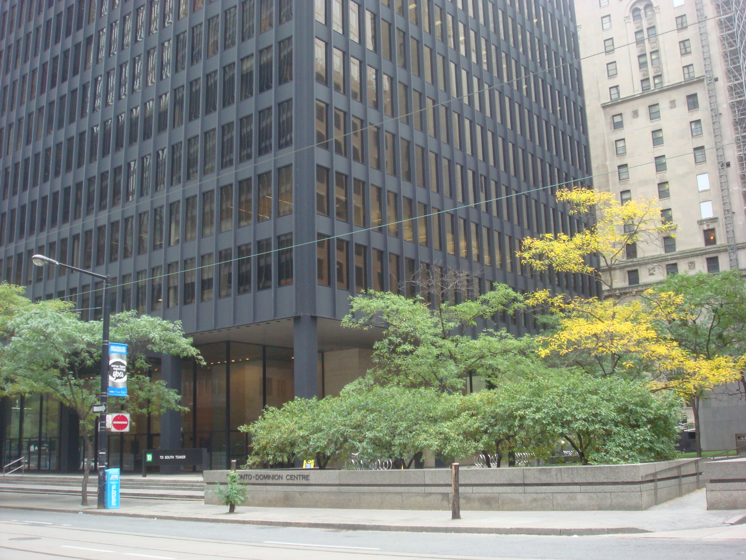 Picture of the outside of TD tower where you enter.