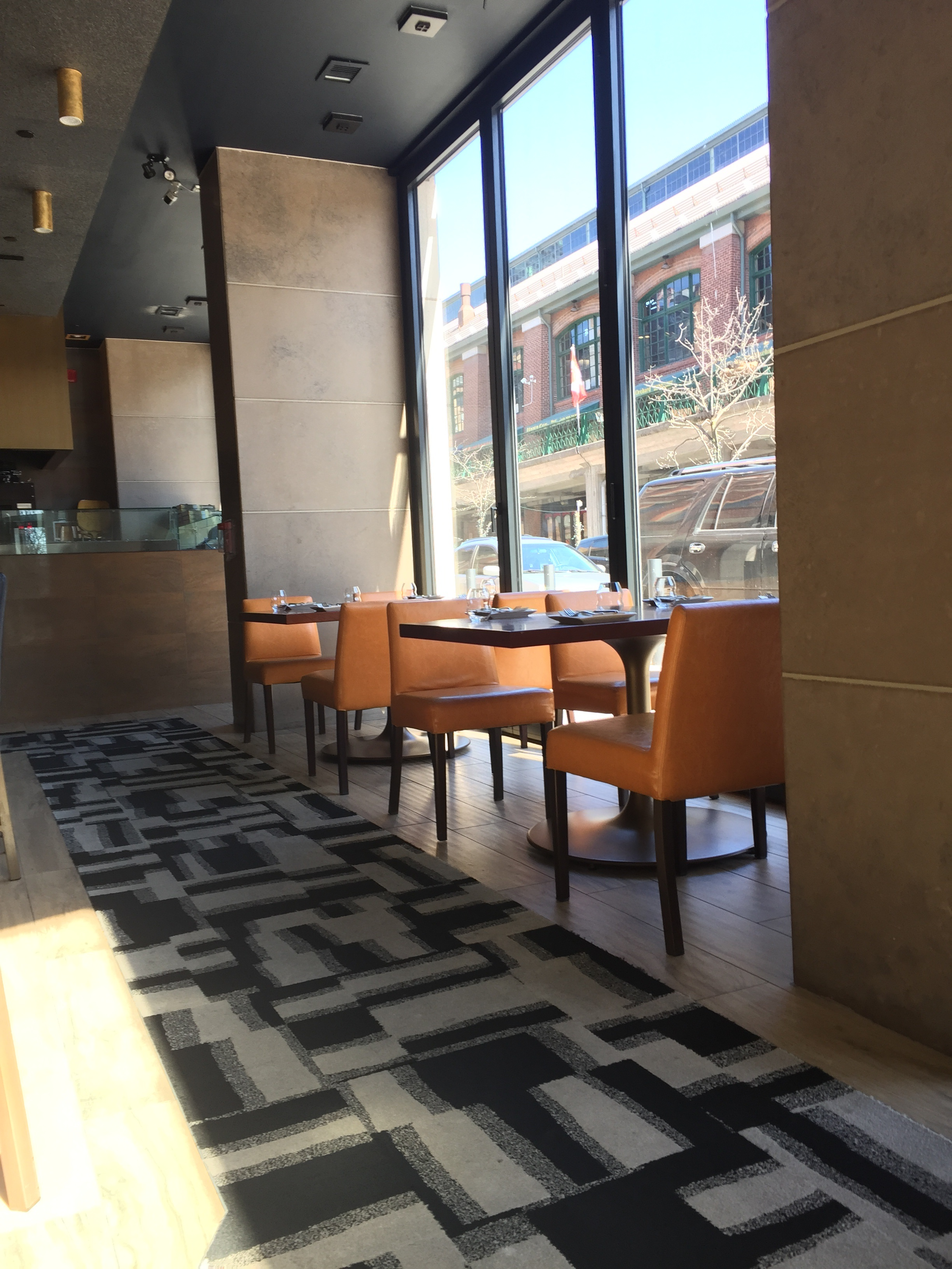 Picture of accessible seating area of restaurant.