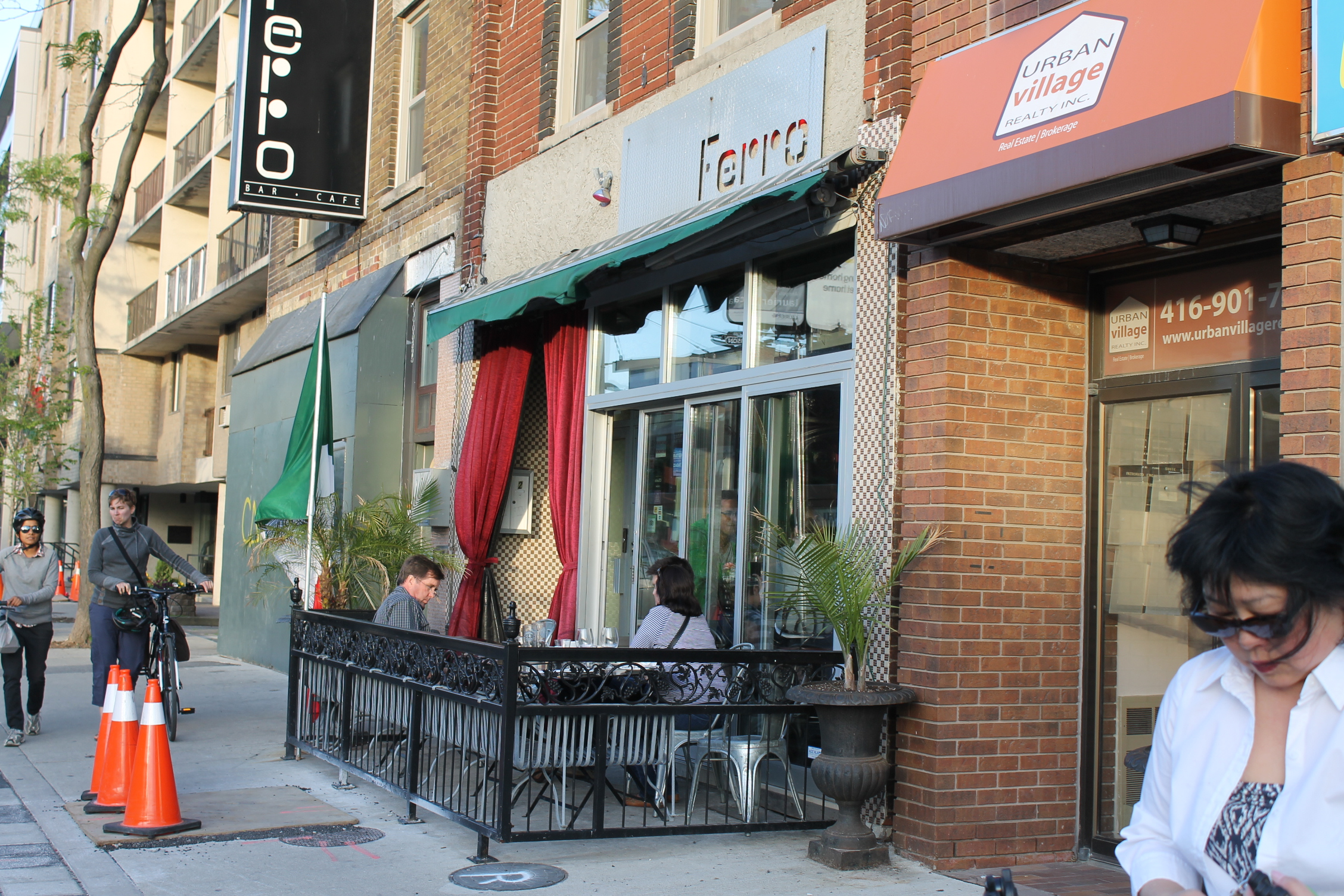 Picture of exterior of Ferro on a busy sidewalk