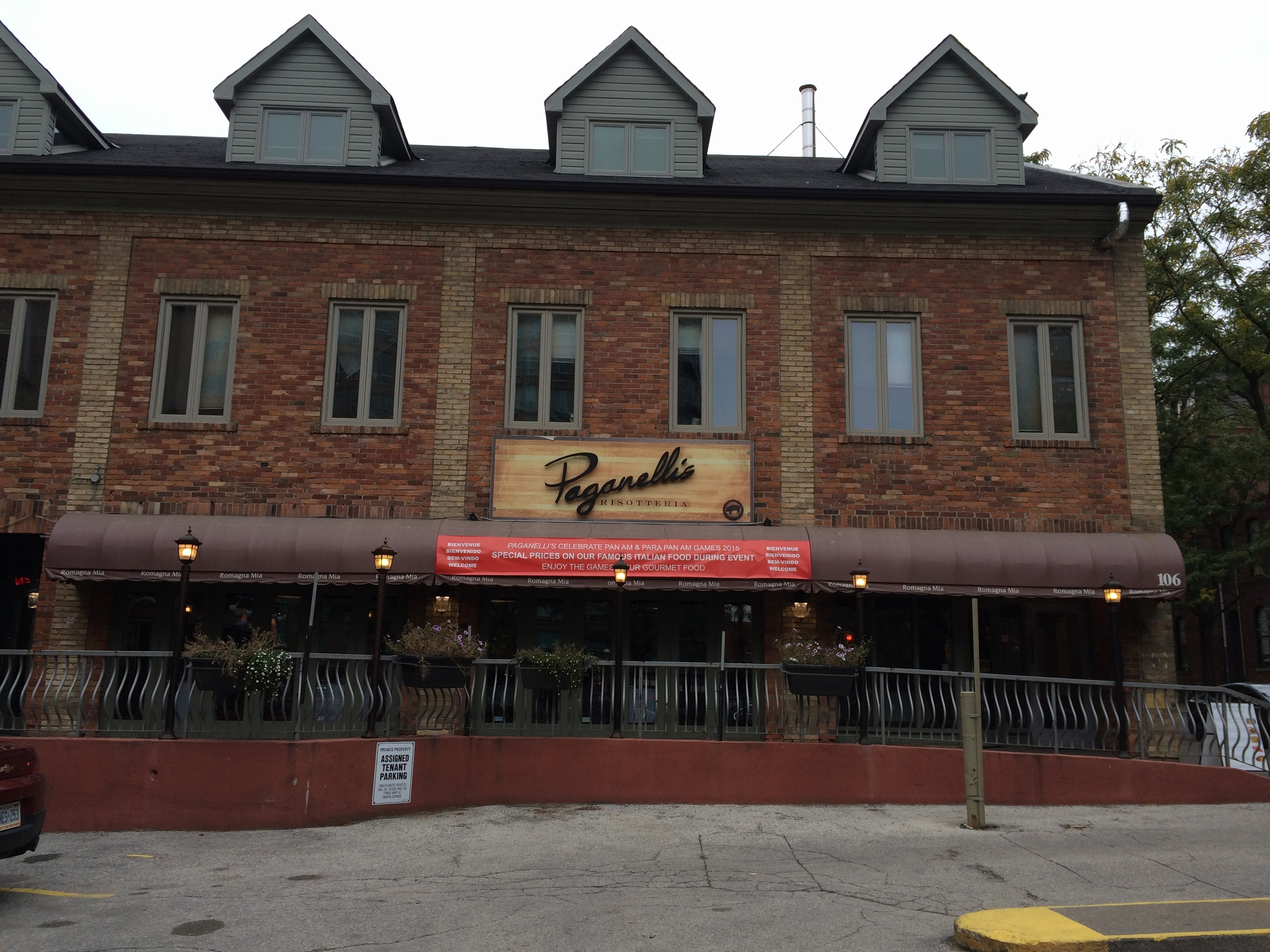 Picture of Paganelli's restaurant from the outside with ramp view.