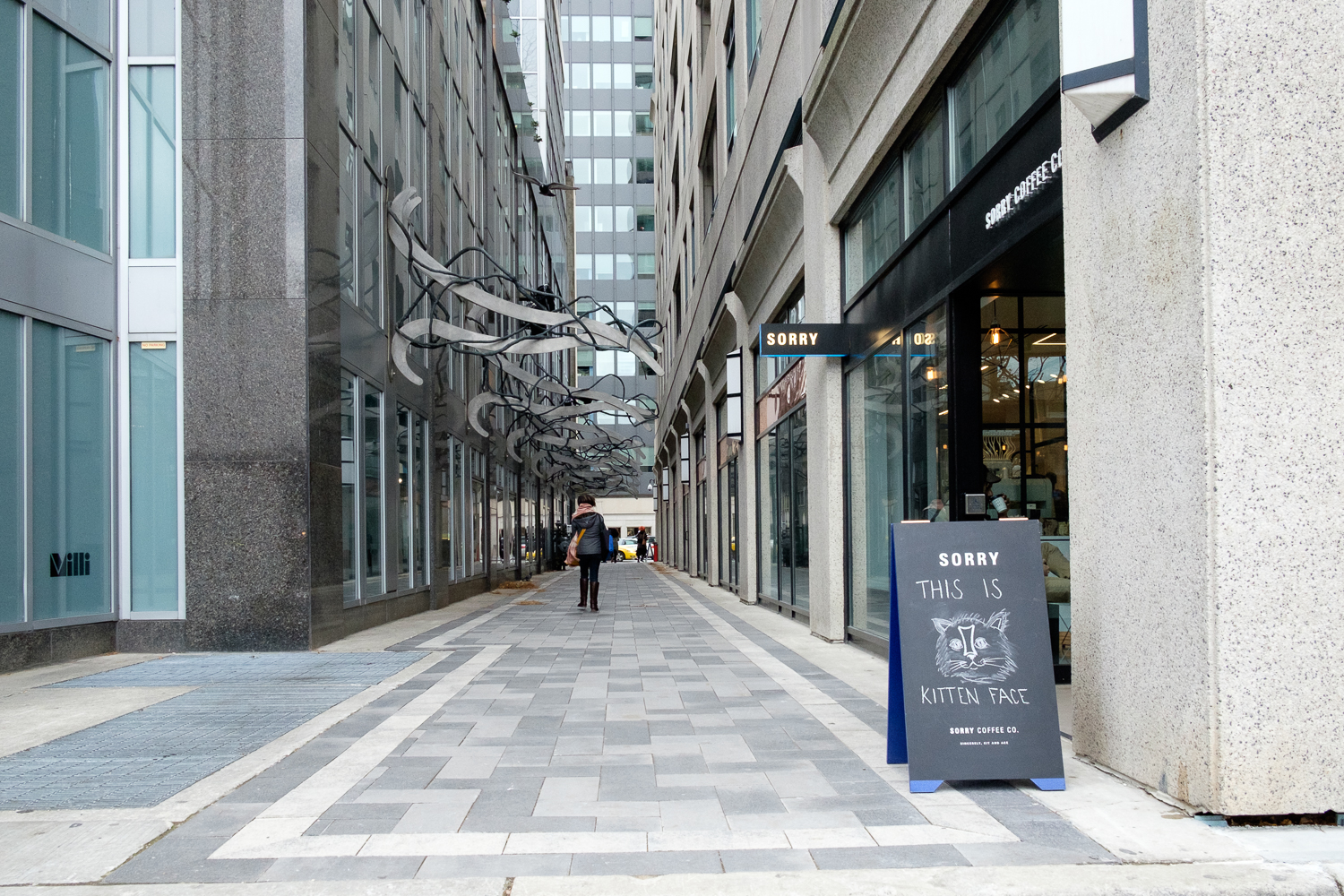 Picture of accessible pathway in front of Sorry Coffee Co.
