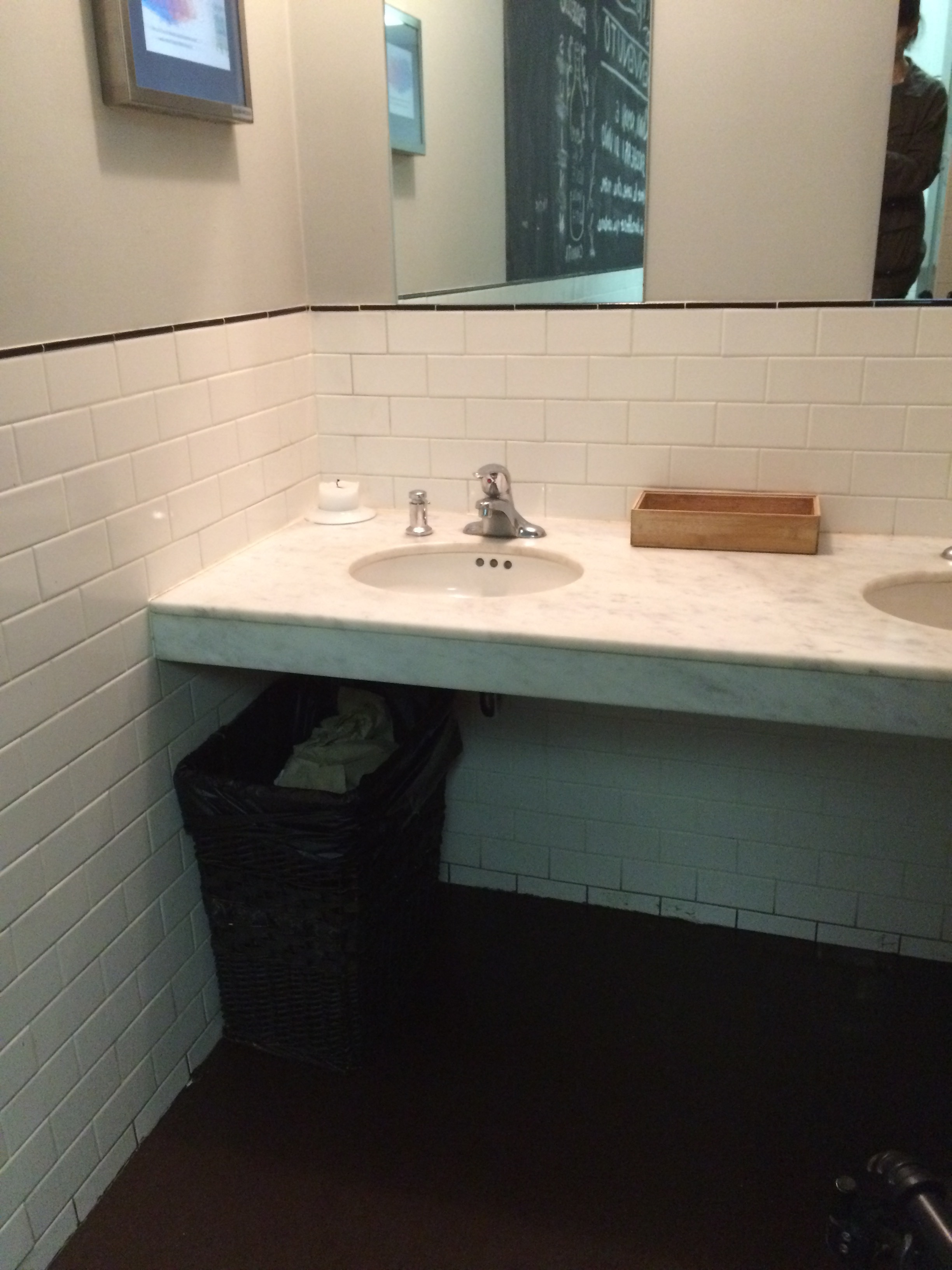 Picture of floating sink in washroom