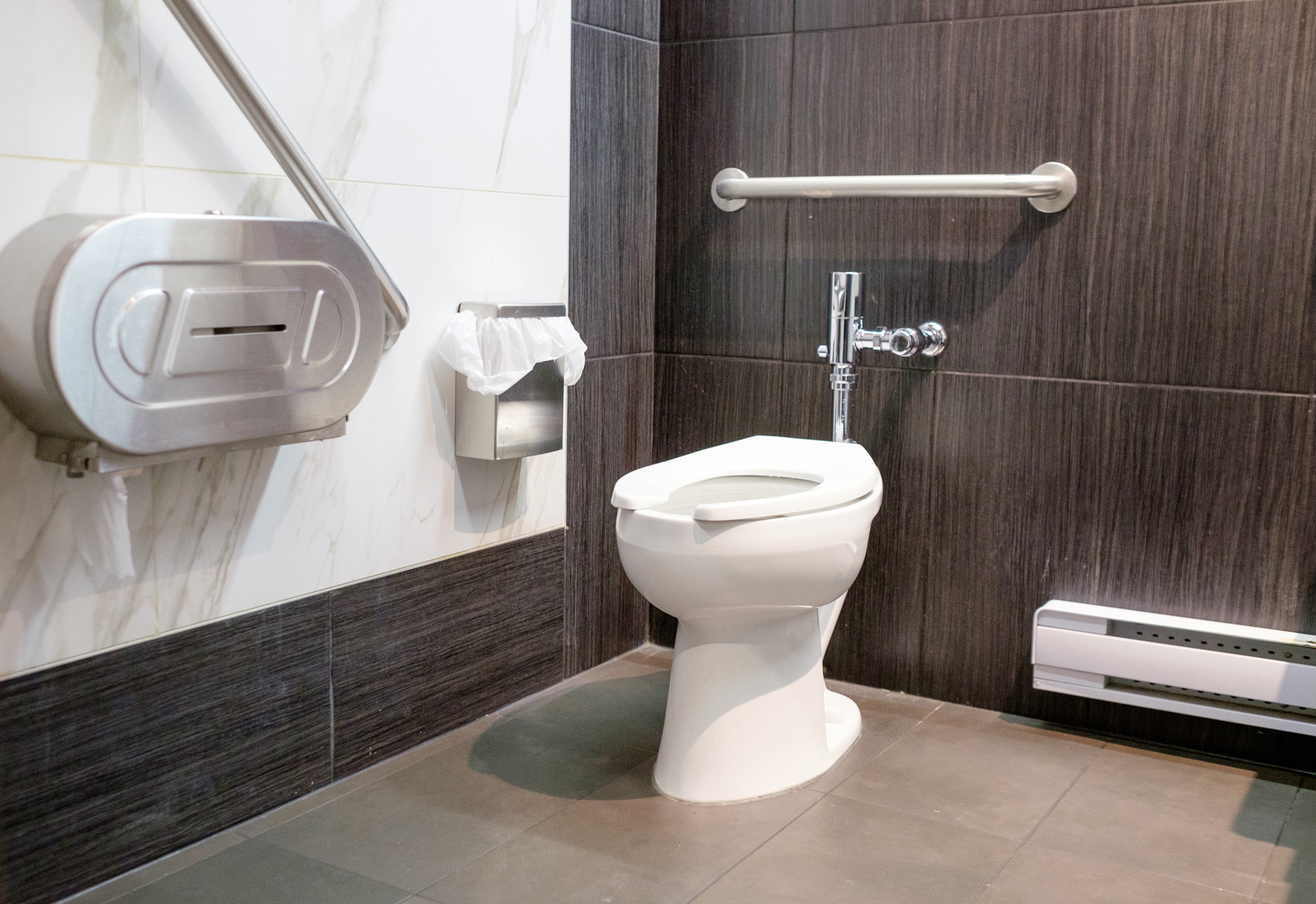 Picture of accessible washroom with grab bars
