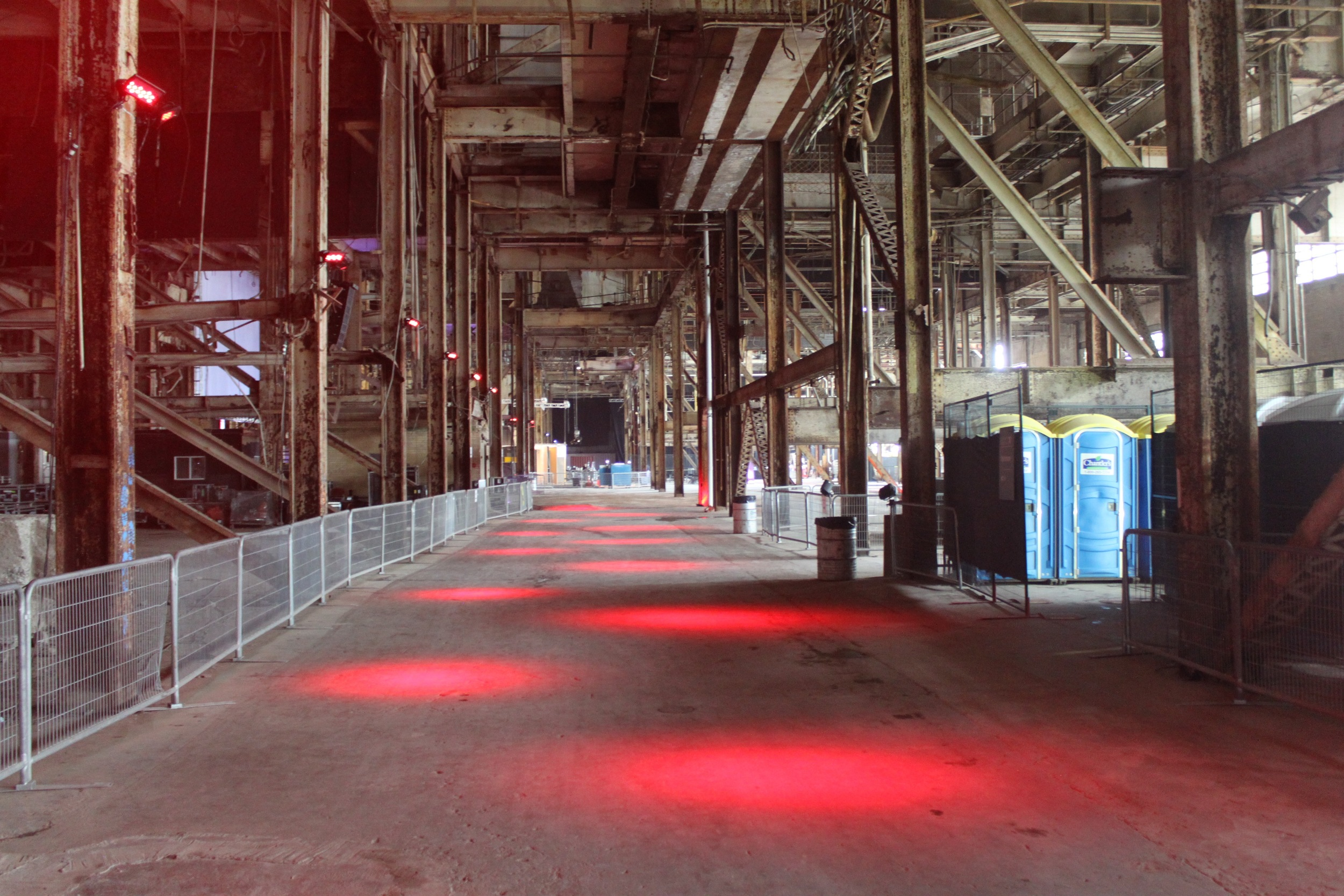 Picture of interior of the Hearn. Red spotlights are featured on the floor