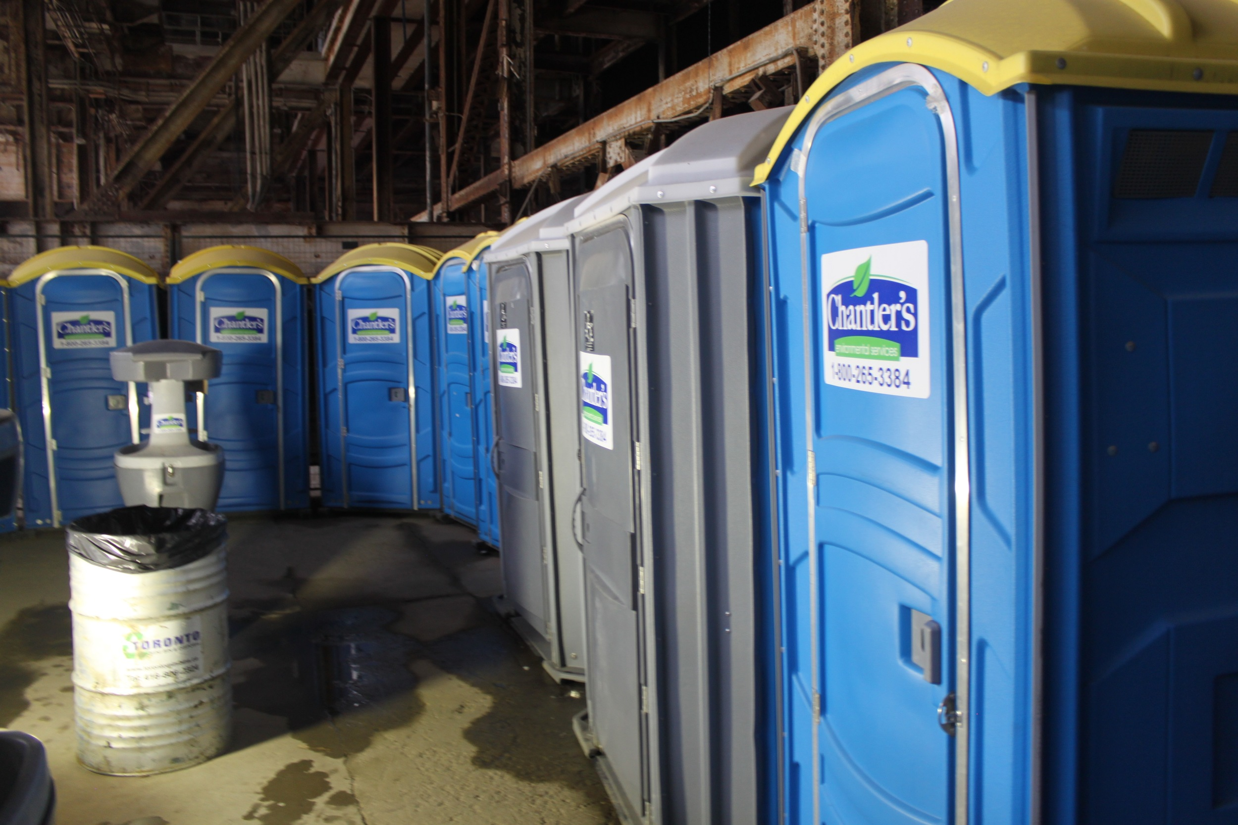 Picture of rows of portable washrooms with two being accessible