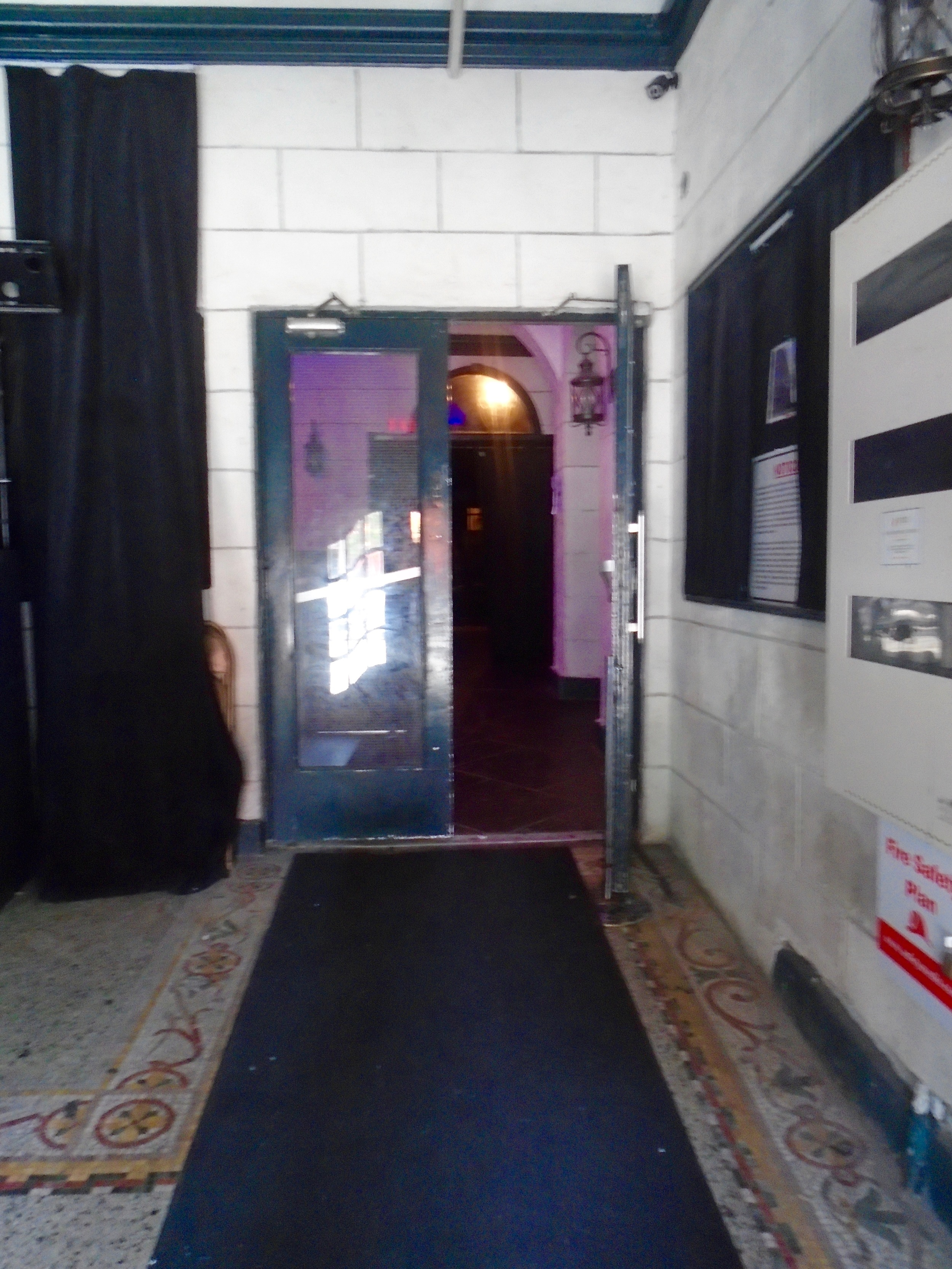 Picture of double doors upon entering venue