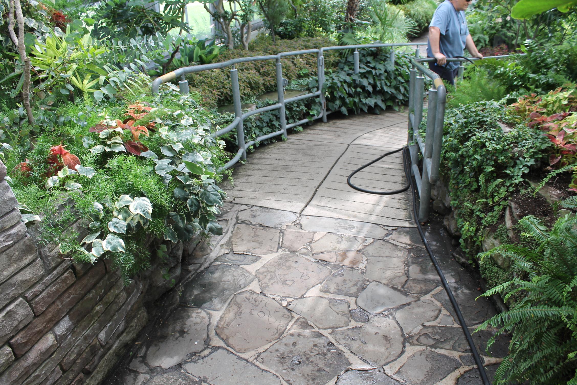 Flooring transition (flagstone to concrete)