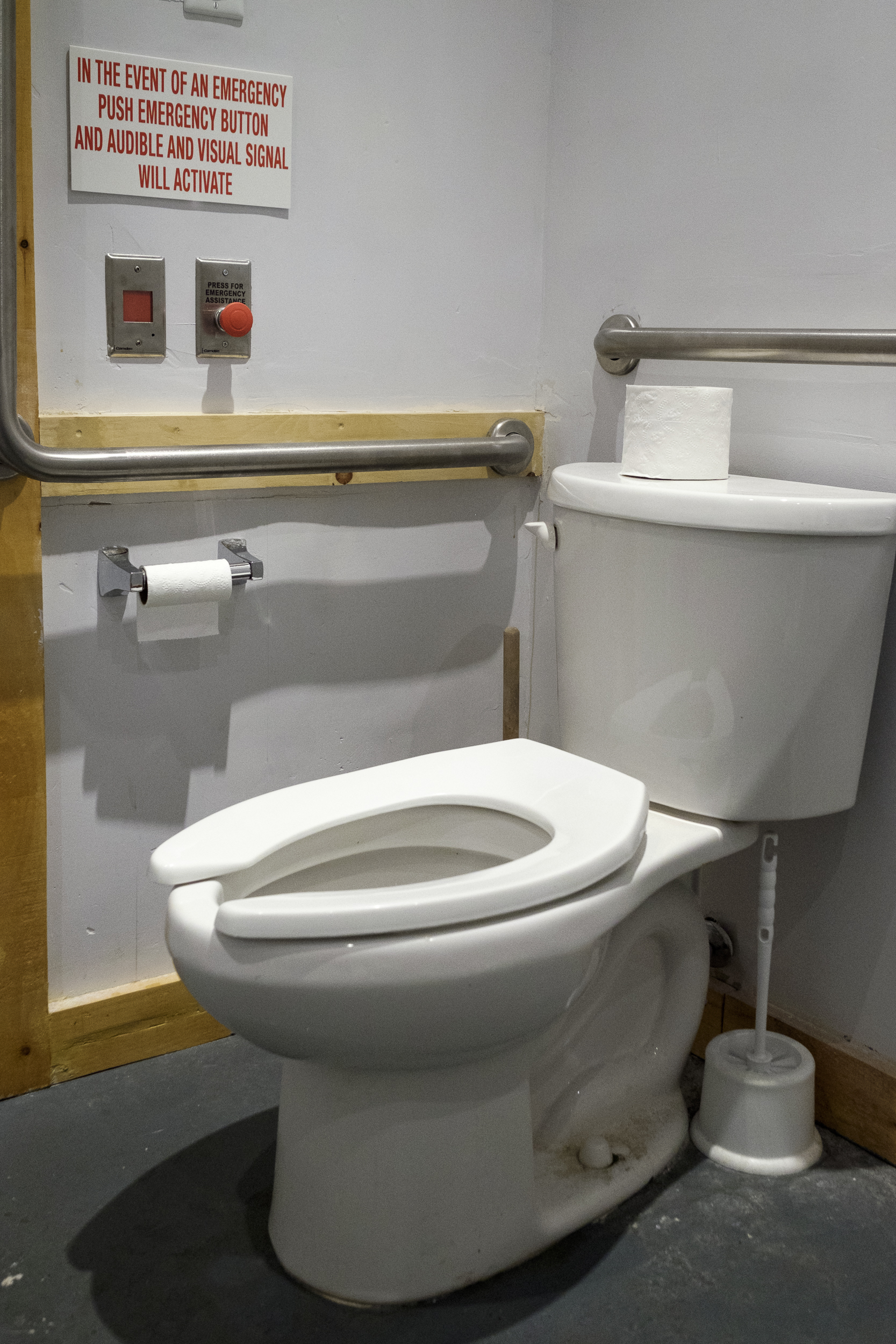 Picture of toilet with grab bars and button to press incase of emergency