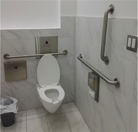 restroom toilet with grab bars