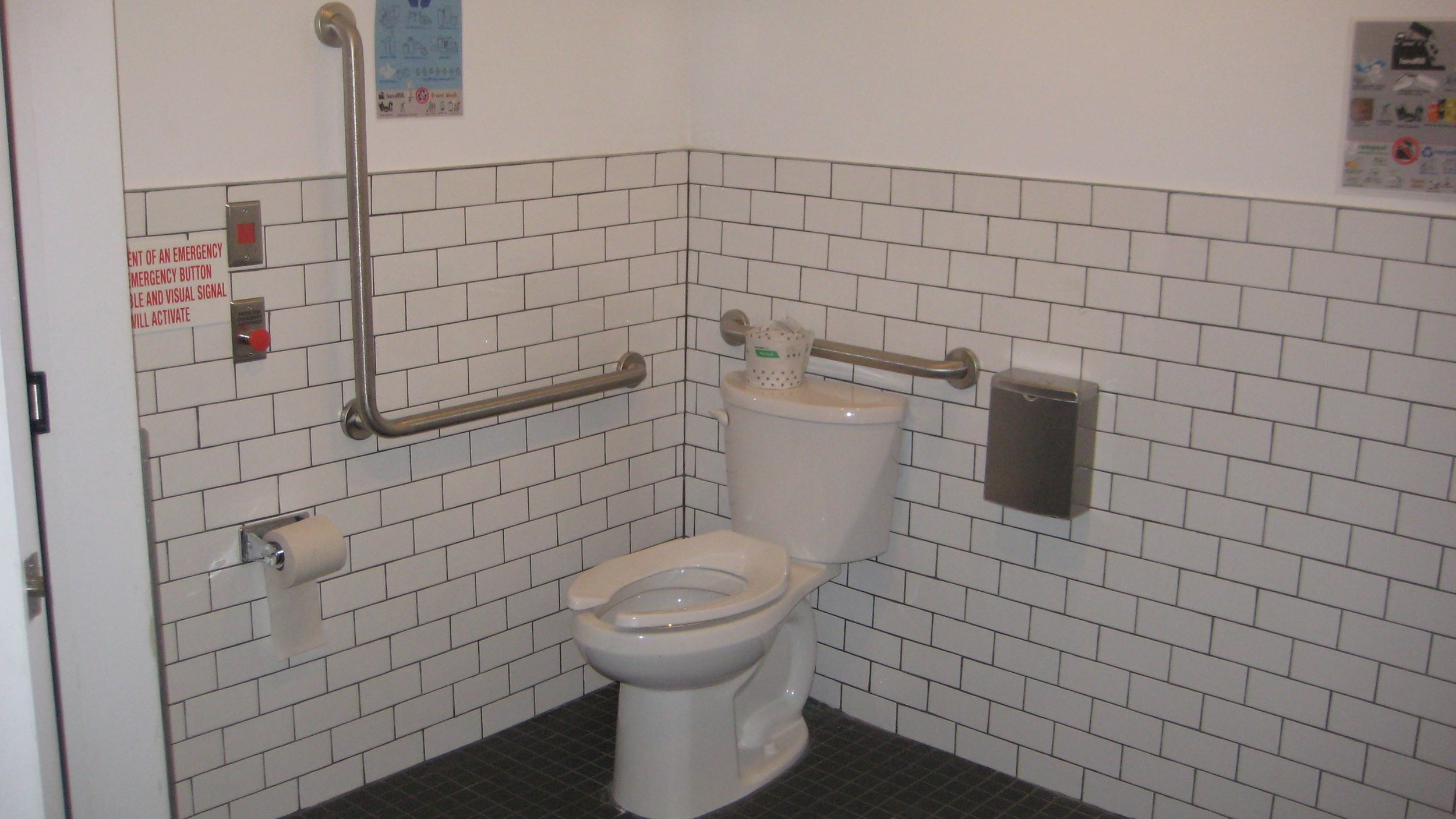 Picture of the accessible washroom including 2 grab bars