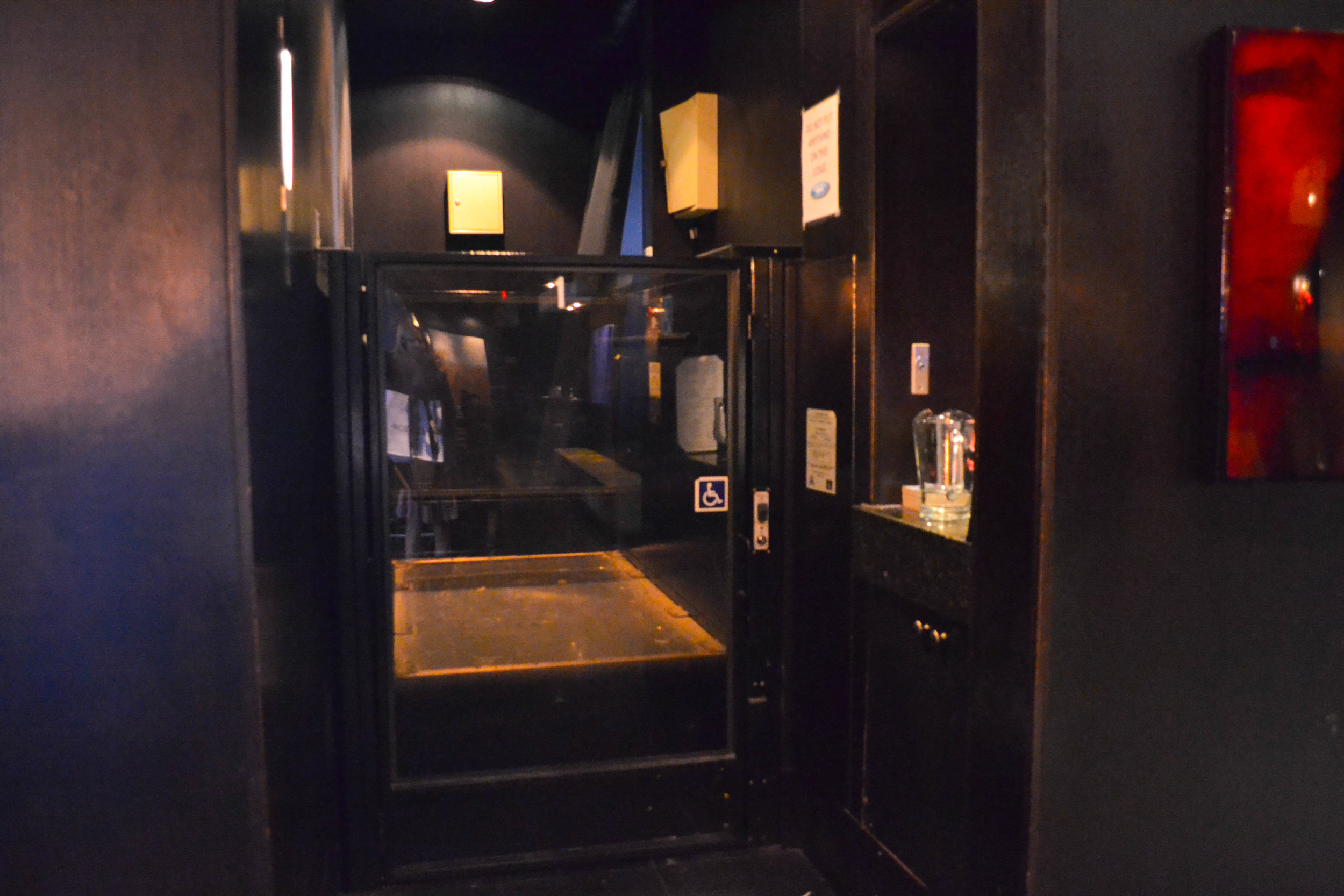 Picture of lift at entrance of the Keg