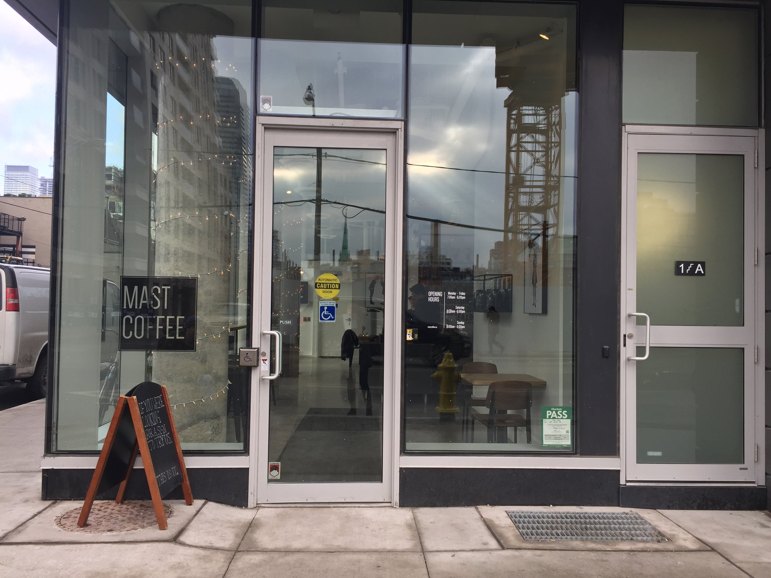 Picture of accessible entrance of Mast Coffee